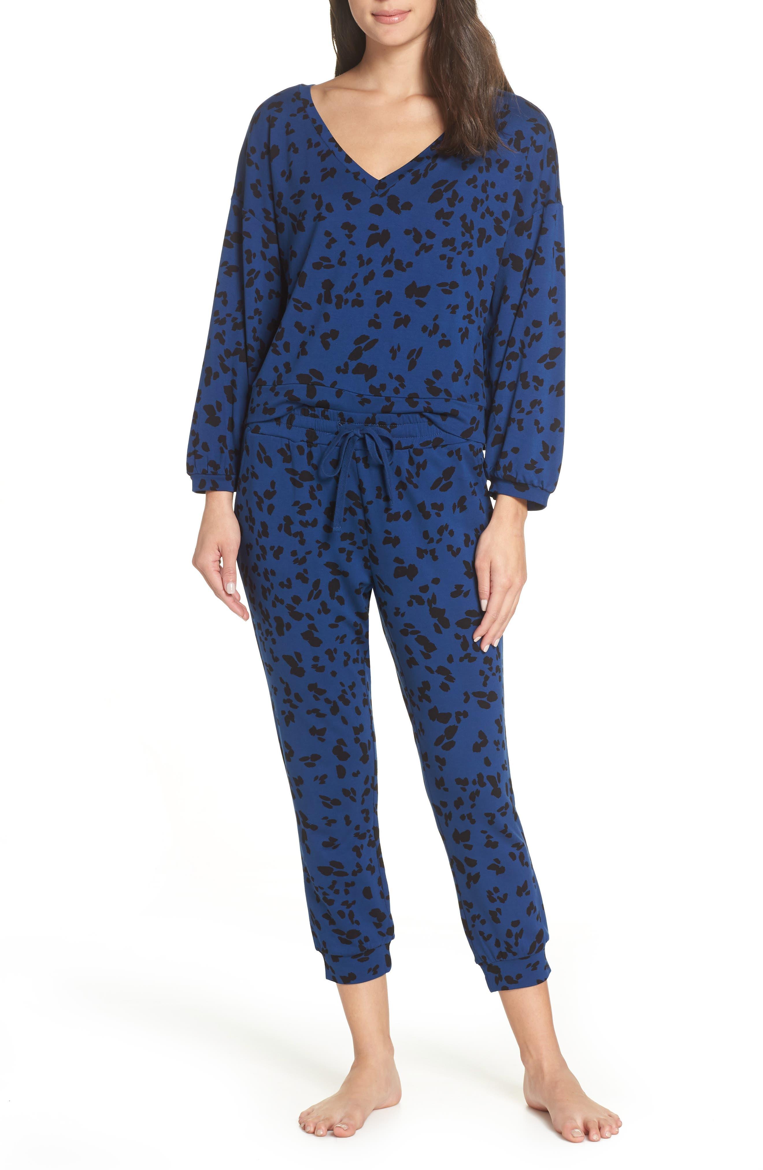 Sensing a Pattern Leopard Print Pajama Top,                             Alternate thumbnail 7, color,                             MARINE