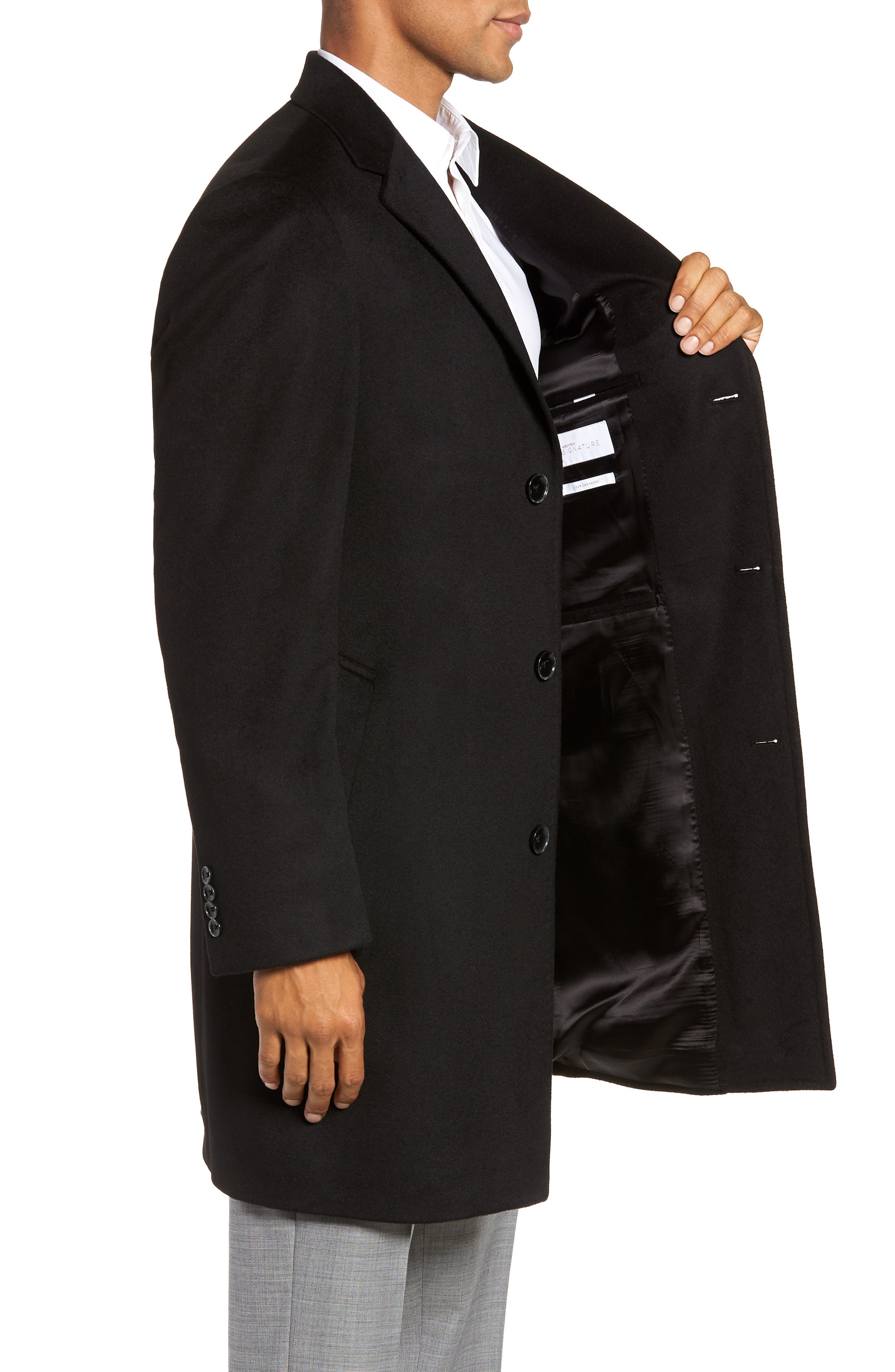 Darien Solid Cashmere Overcoat,                             Alternate thumbnail 3, color,                             BLACK