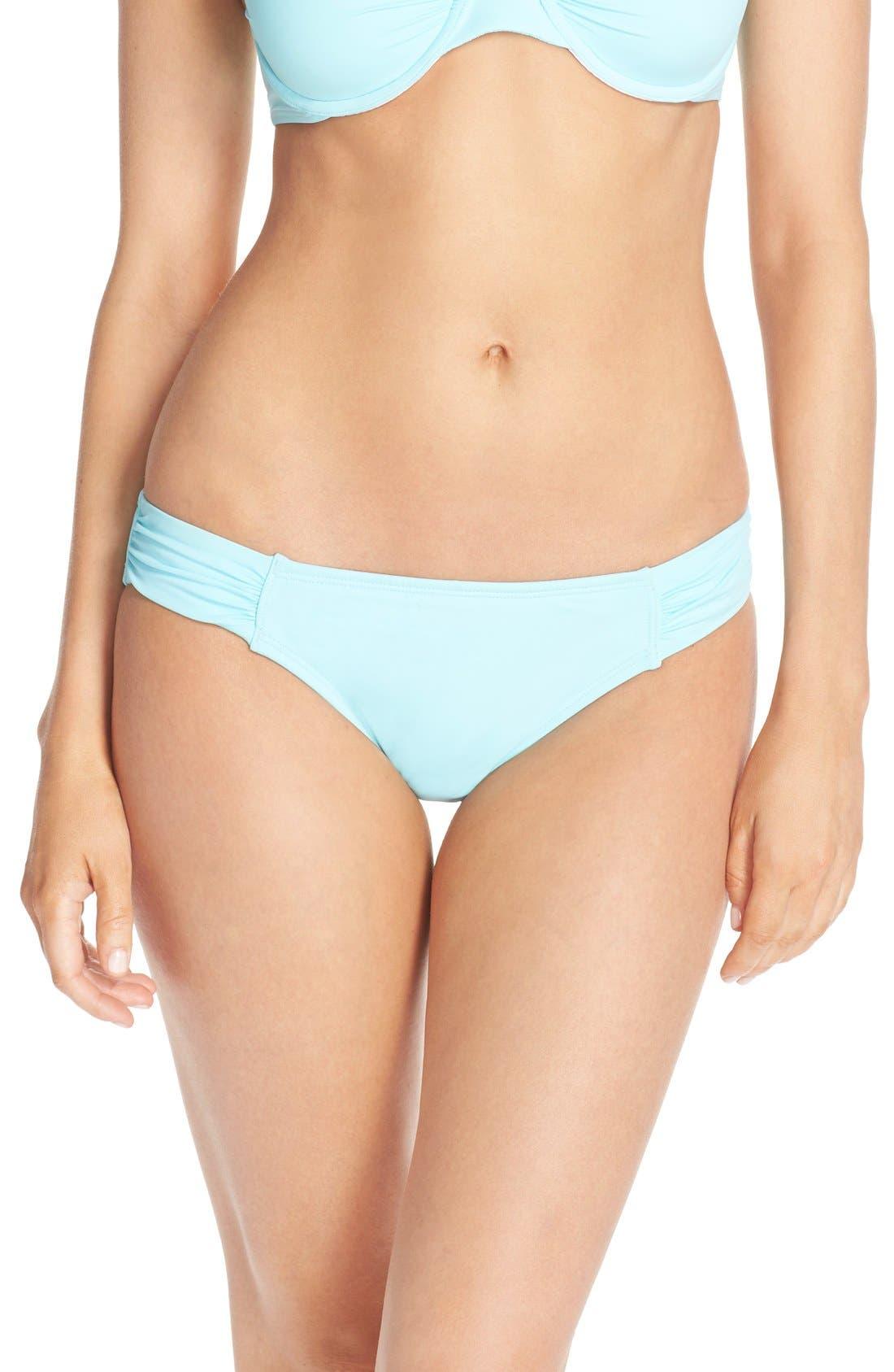 Side Shirred Hipster Bikini Bottoms,                             Main thumbnail 1, color,                             400