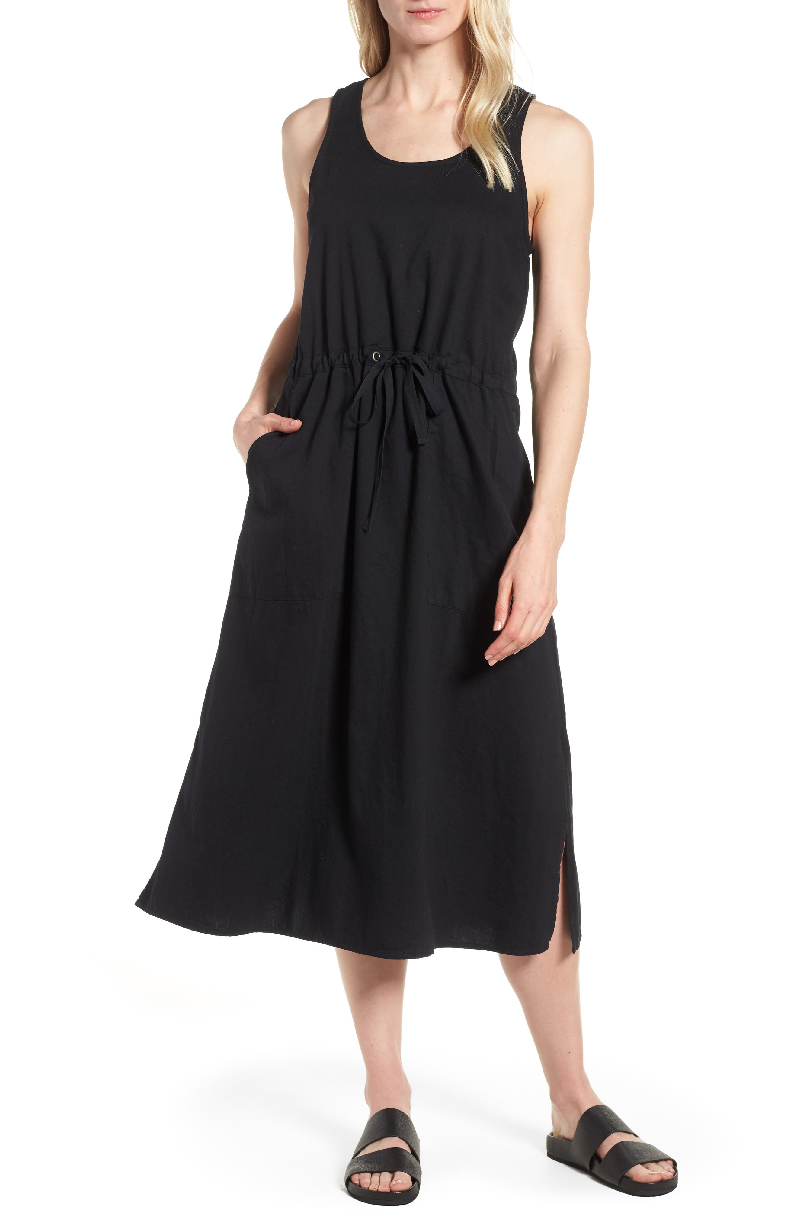 Drawstring Organic Cotton Midi Dress,                         Main,                         color, 001