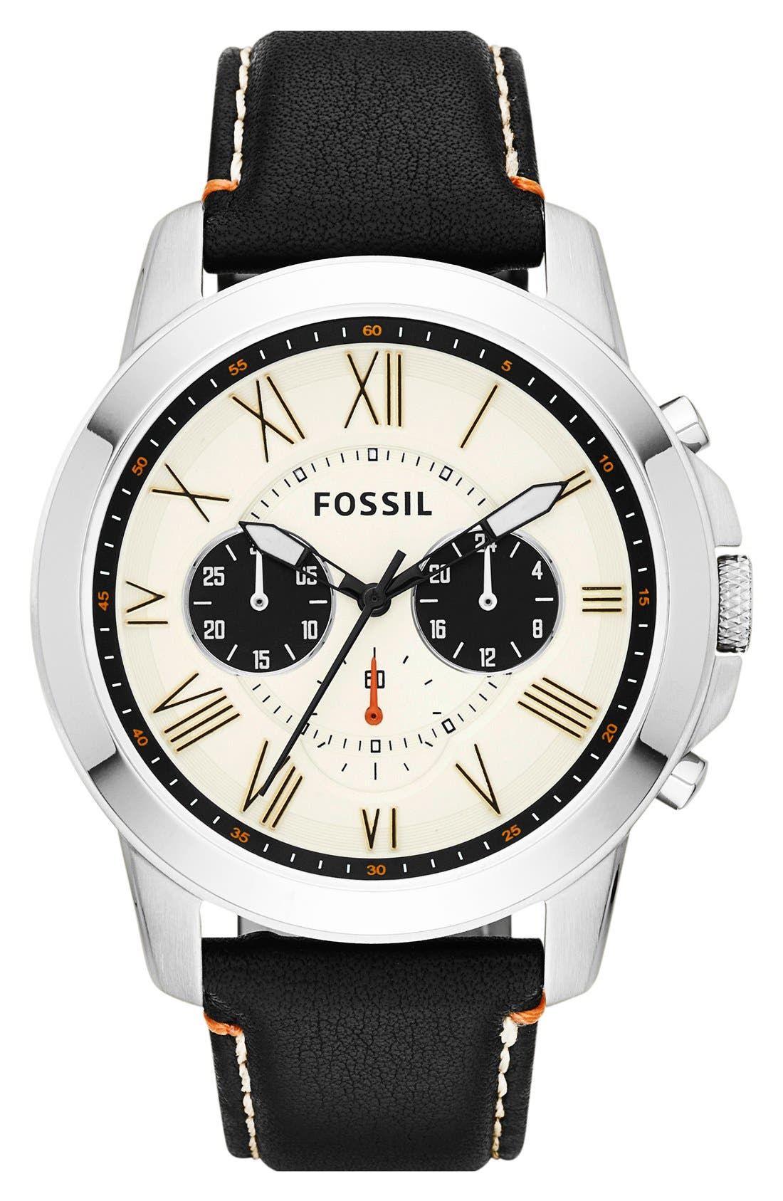 'Grant' Round Chronograph Leather Strap Watch, 44mm,                             Main thumbnail 5, color,