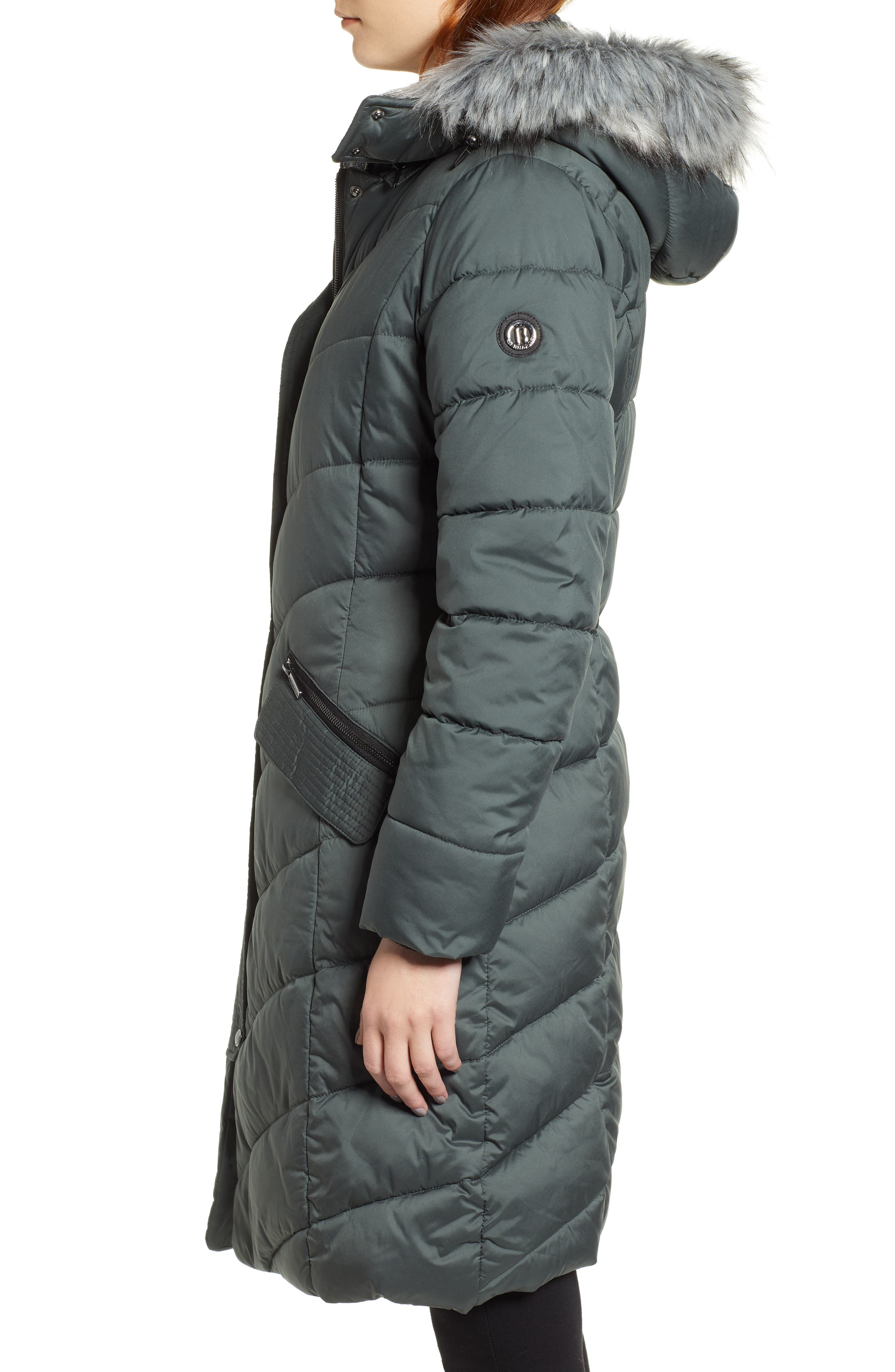 Puffer Jacket with Faux Fur Trim,                             Alternate thumbnail 3, color,                             DARK MOSS