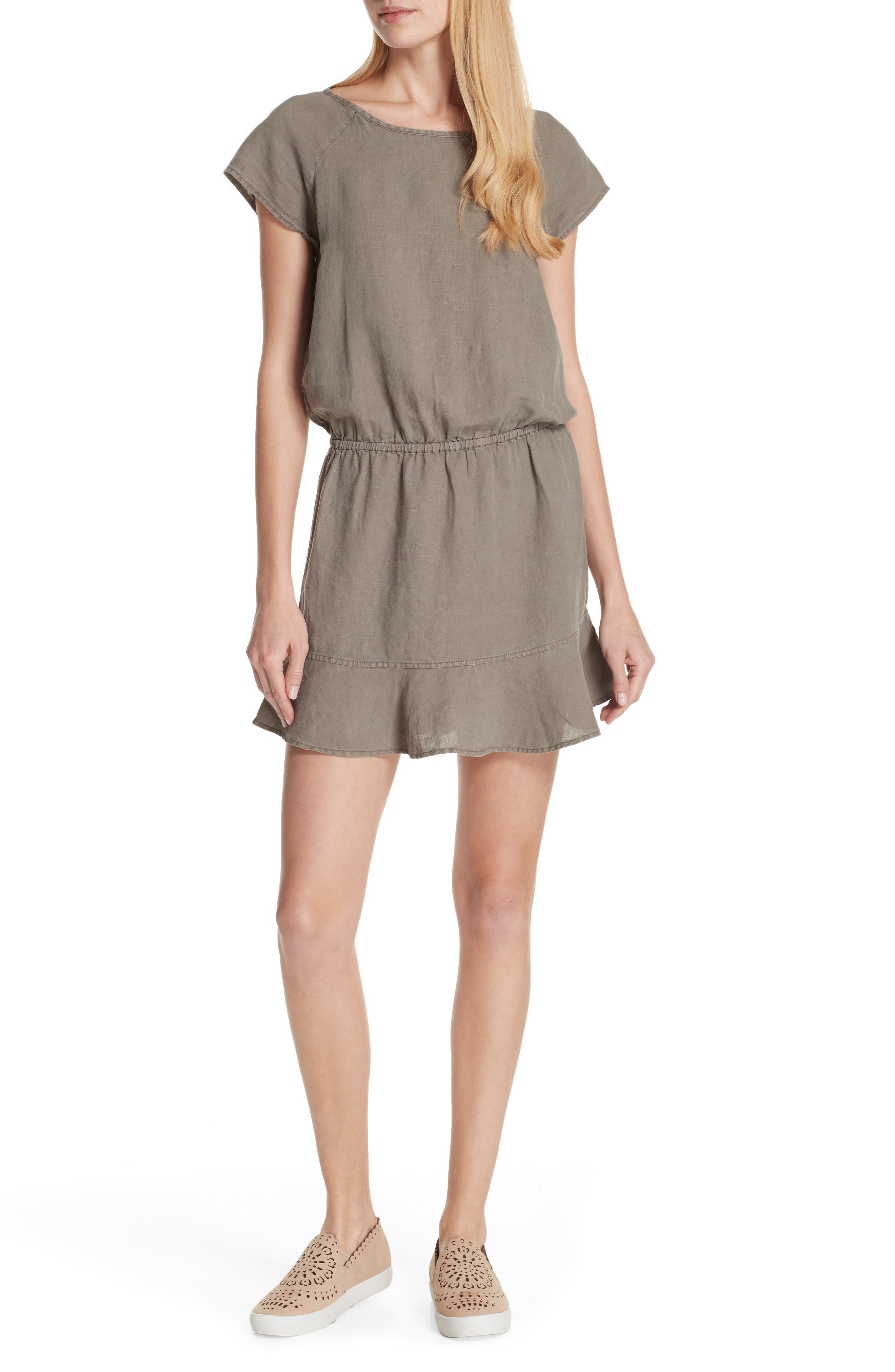 Quora Ruffle Linen Dress,                             Main thumbnail 2, color,