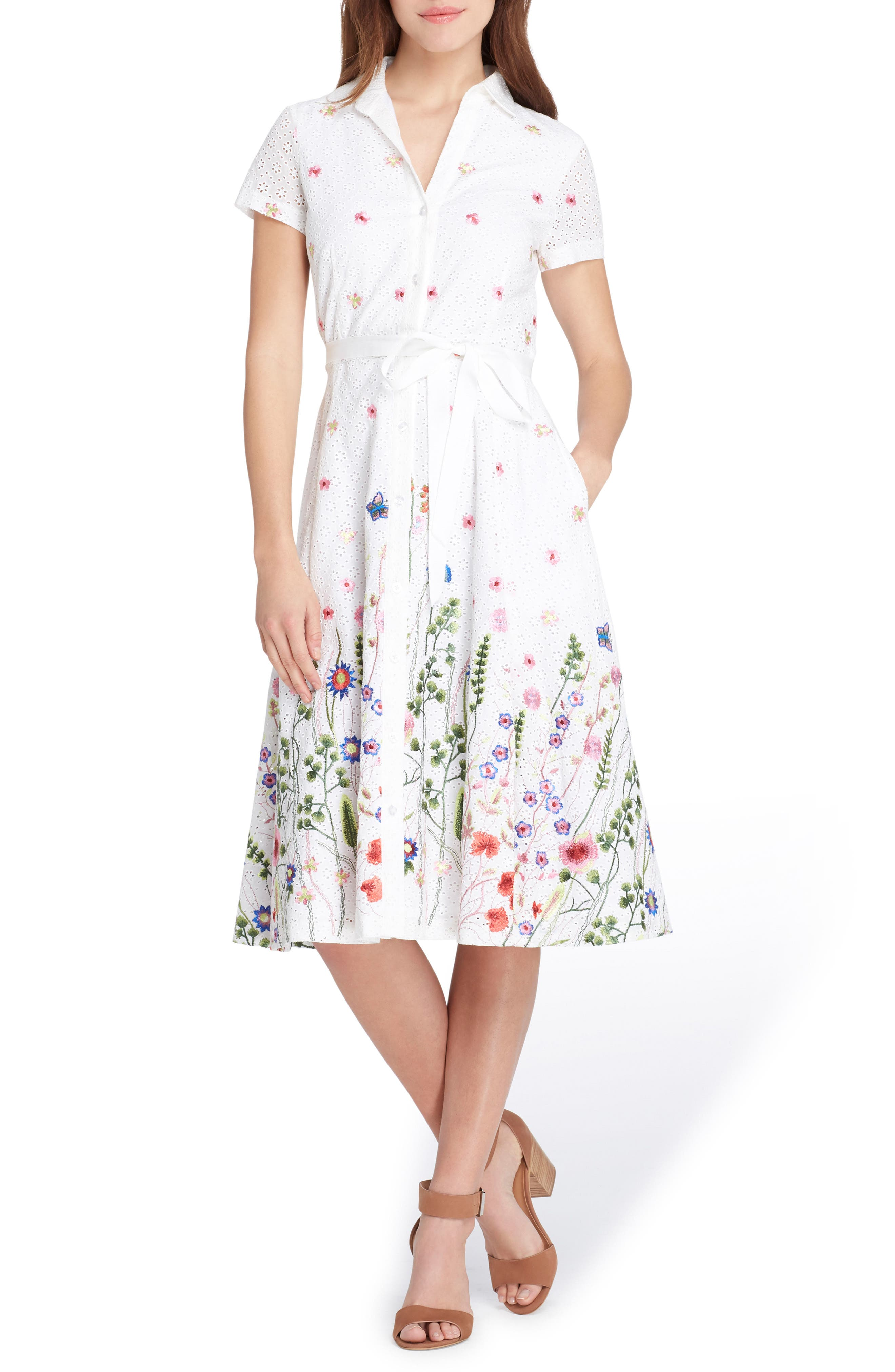 Floral Embroidered Eyelet Shirtdress,                             Main thumbnail 1, color,
