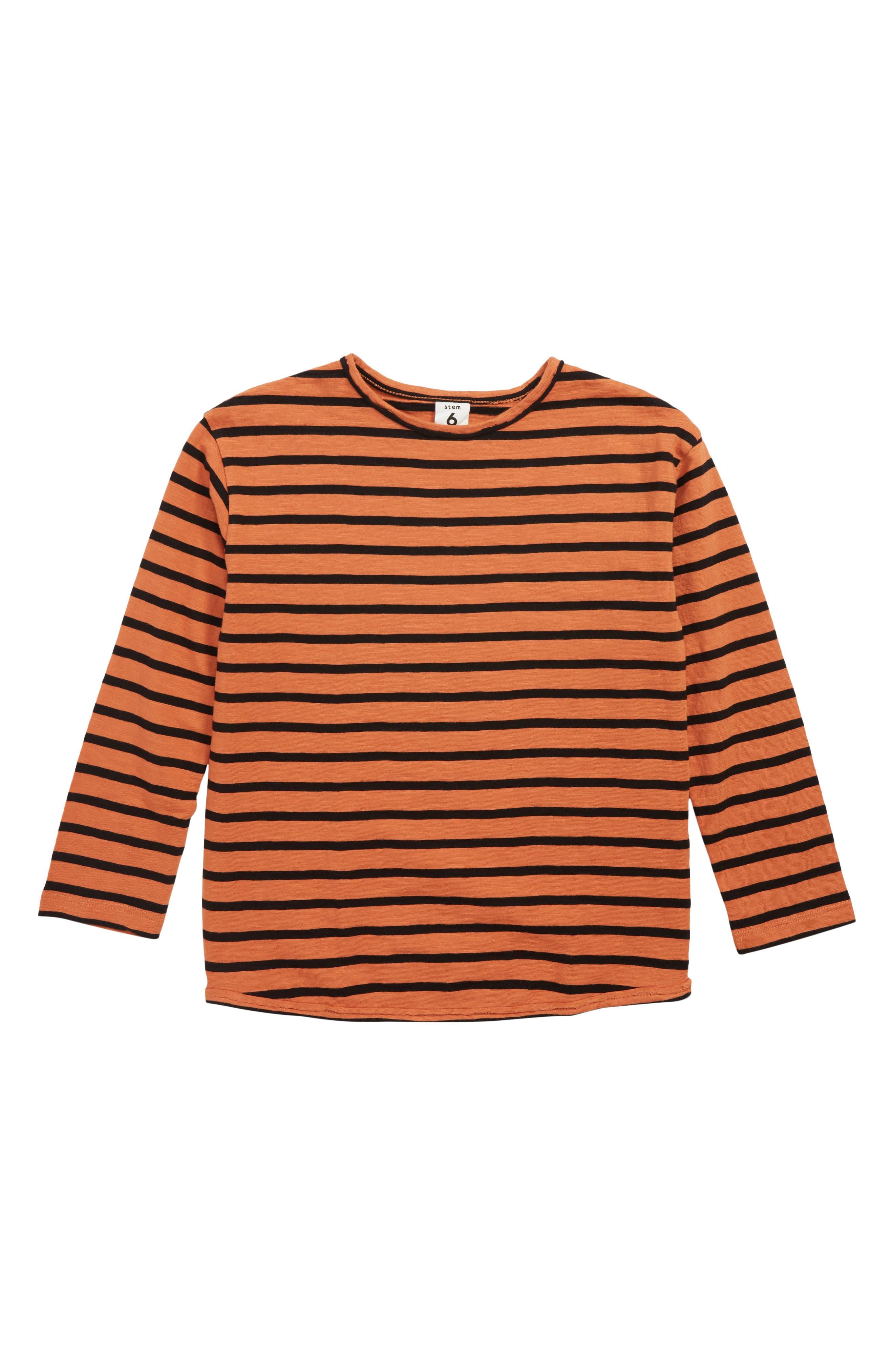 Stripy Slub T-Shirt,                             Main thumbnail 1, color,                             RUST LEAF- BLACK STRIPE