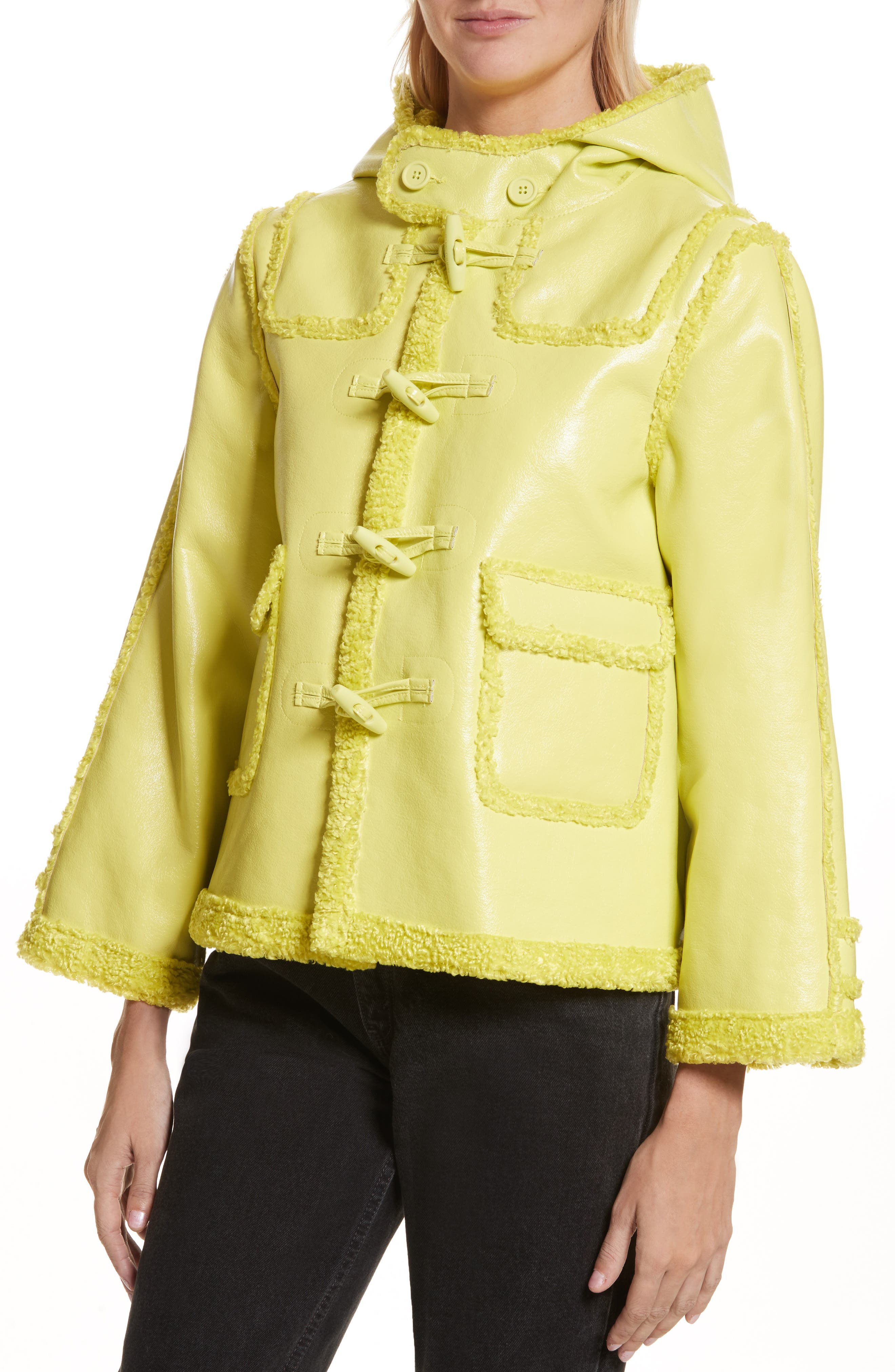 Faux Shearling Shrunken Toggle Jacket,                             Alternate thumbnail 4, color,                             321