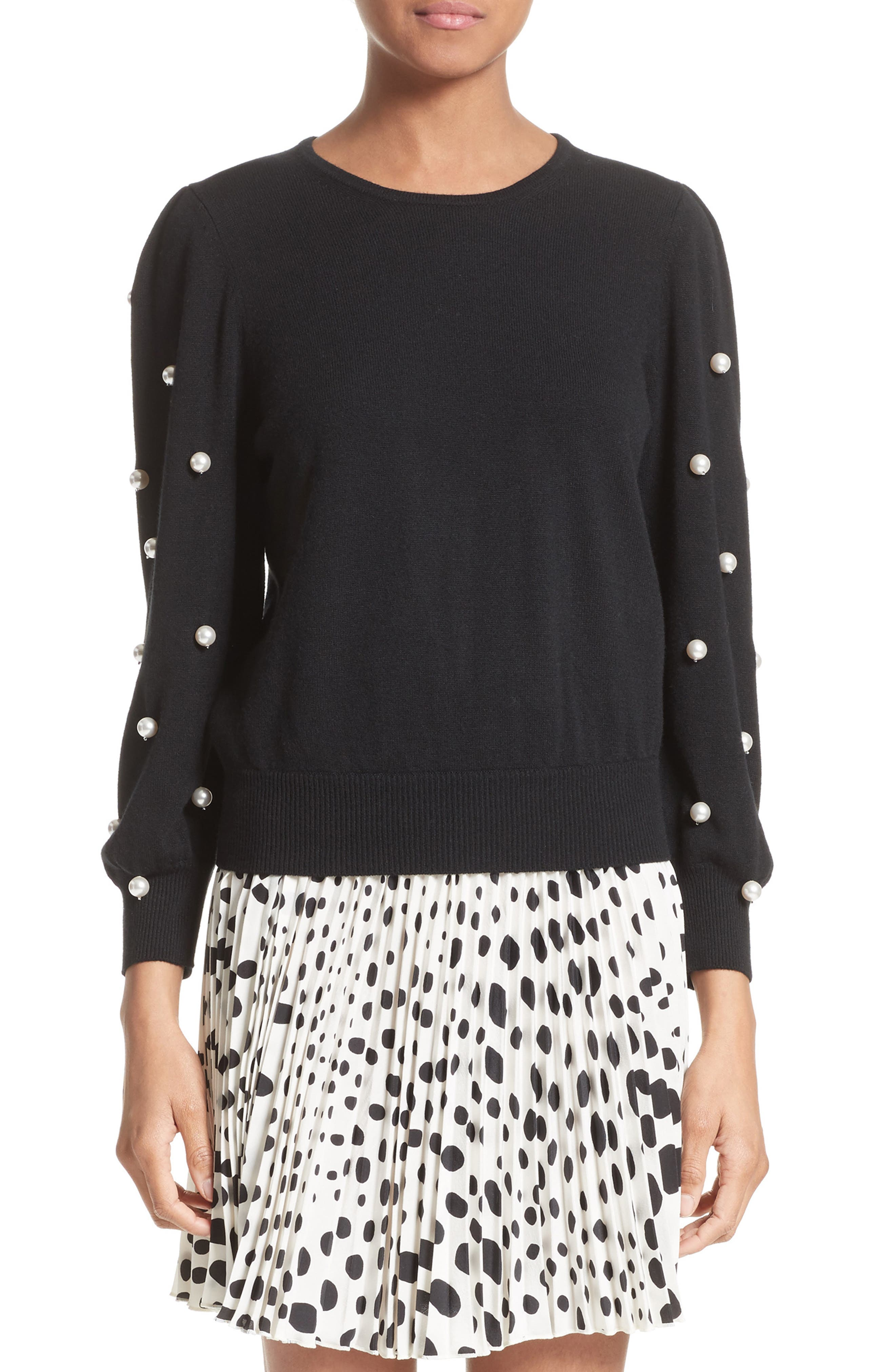 Imitation Pearl Embellished Wool & Cashmere Sweater,                         Main,                         color, 001