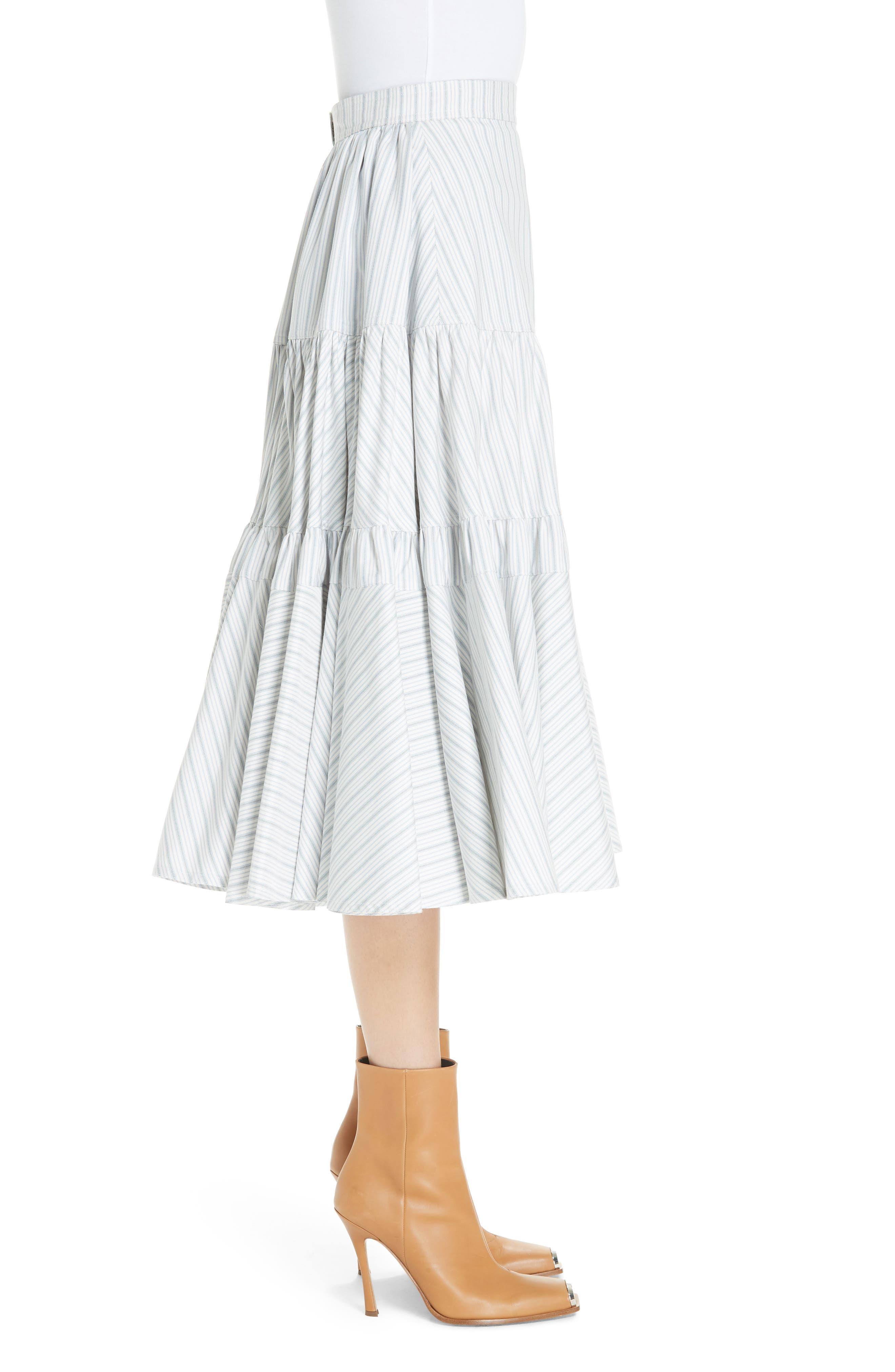 Silk Tiered Prairie Skirt,                             Alternate thumbnail 3, color,                             CREAM BLUE