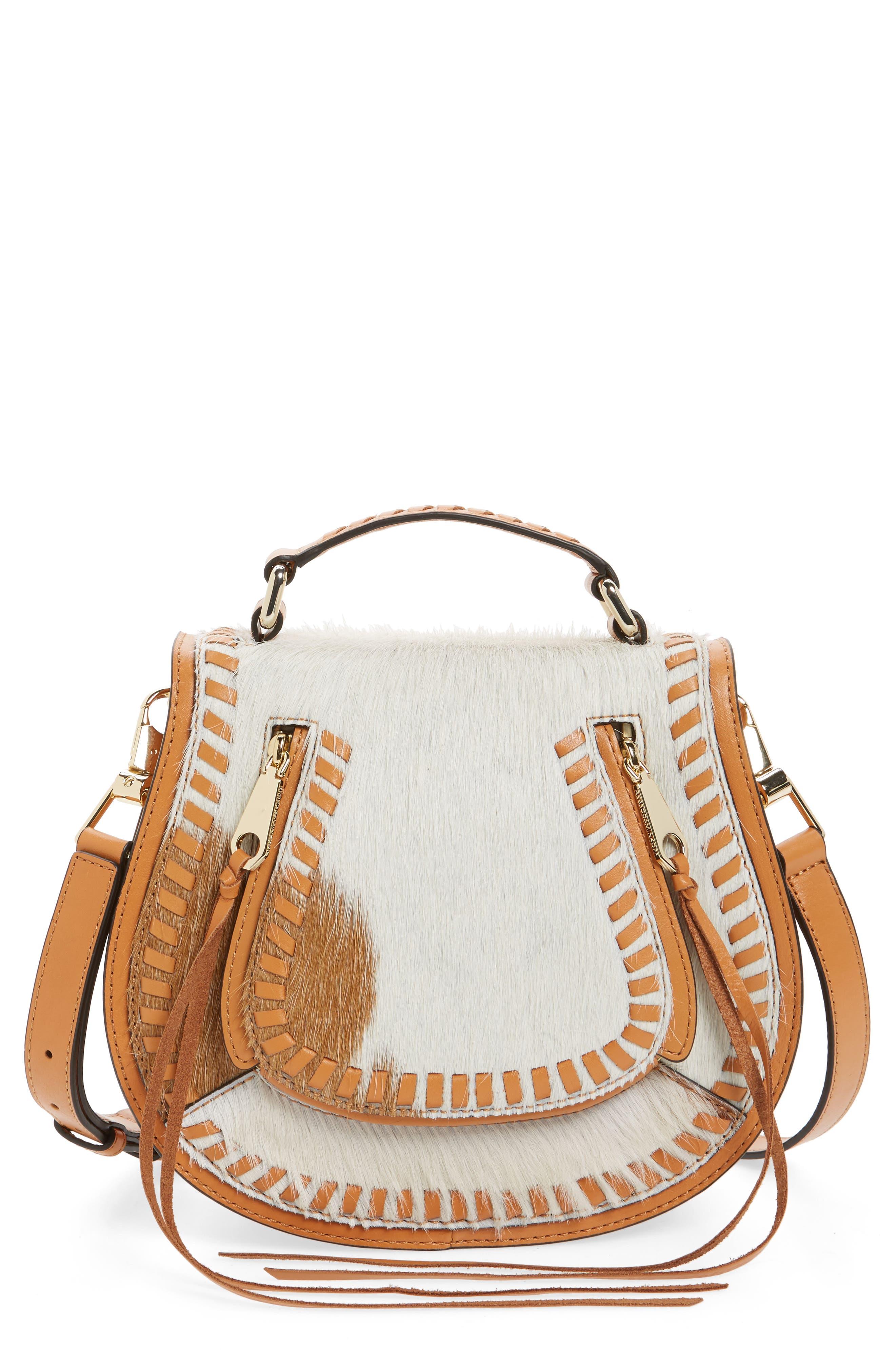 Small Vanity Genuine Calf Hair Saddle Bag, Main, color, 200