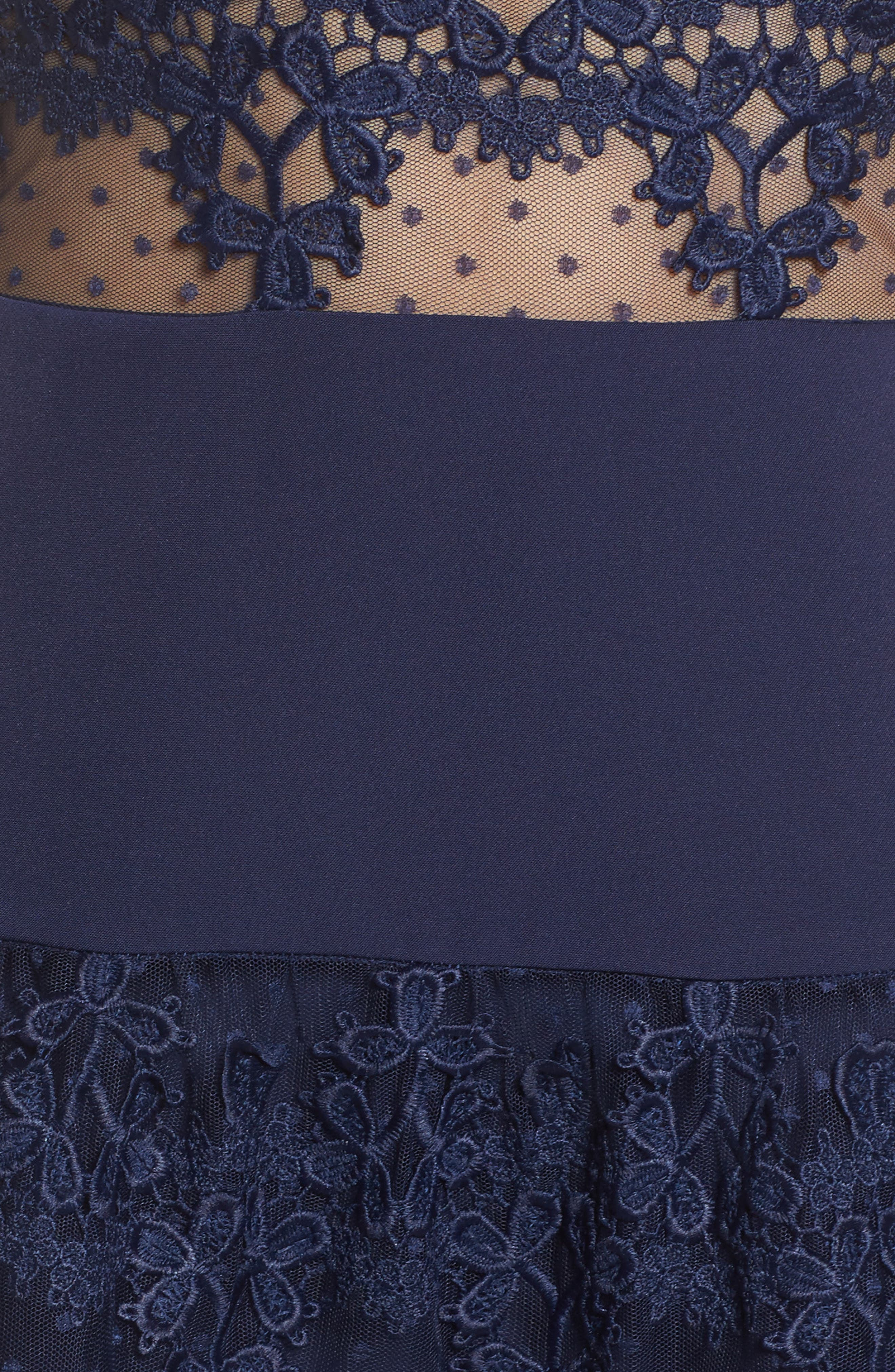 Flamenco Lace Inset Fit & Flare Dress,                             Alternate thumbnail 5, color,                             410