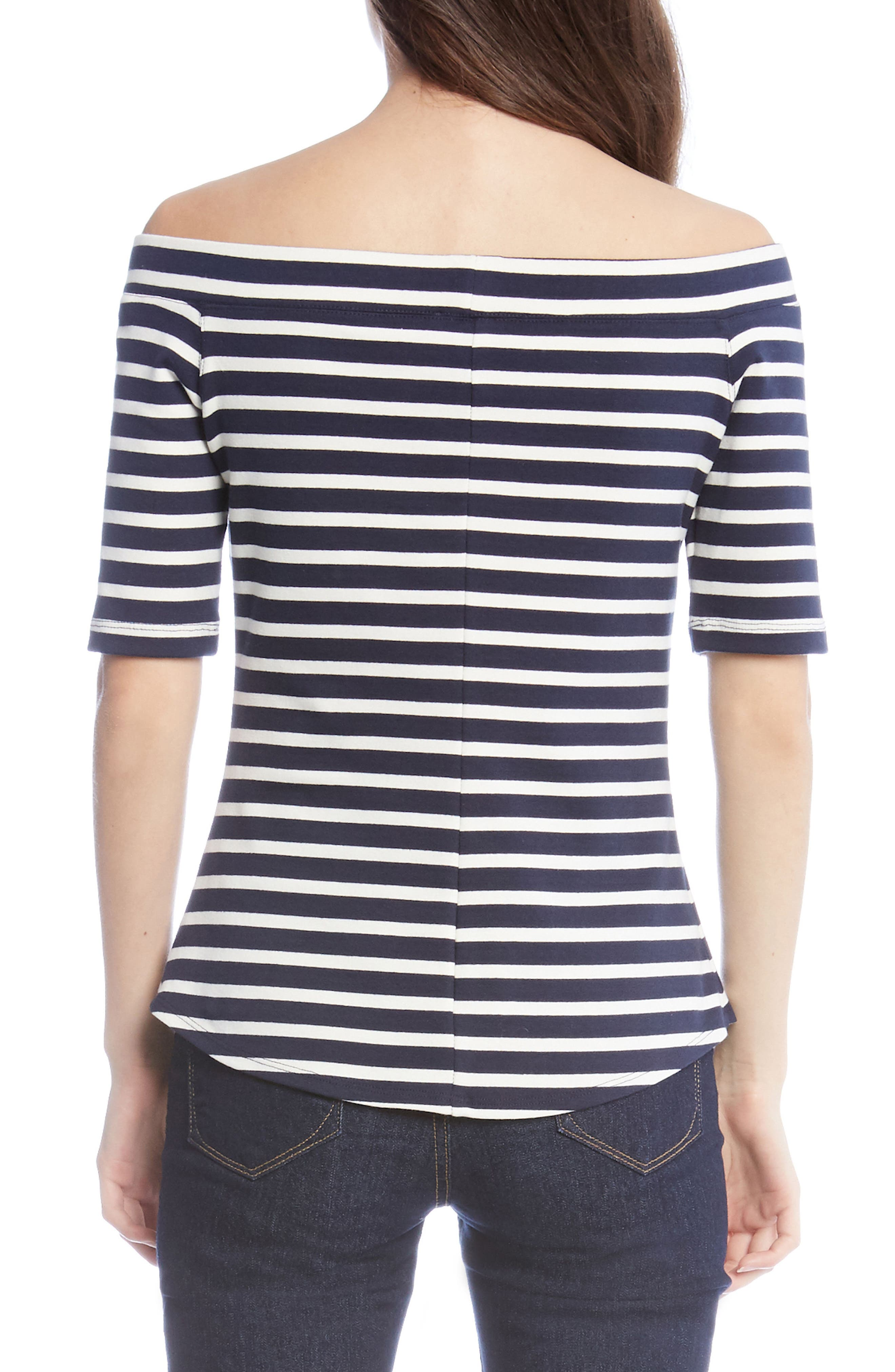 Off the Shoulder Stripe Top,                             Alternate thumbnail 2, color,                             001