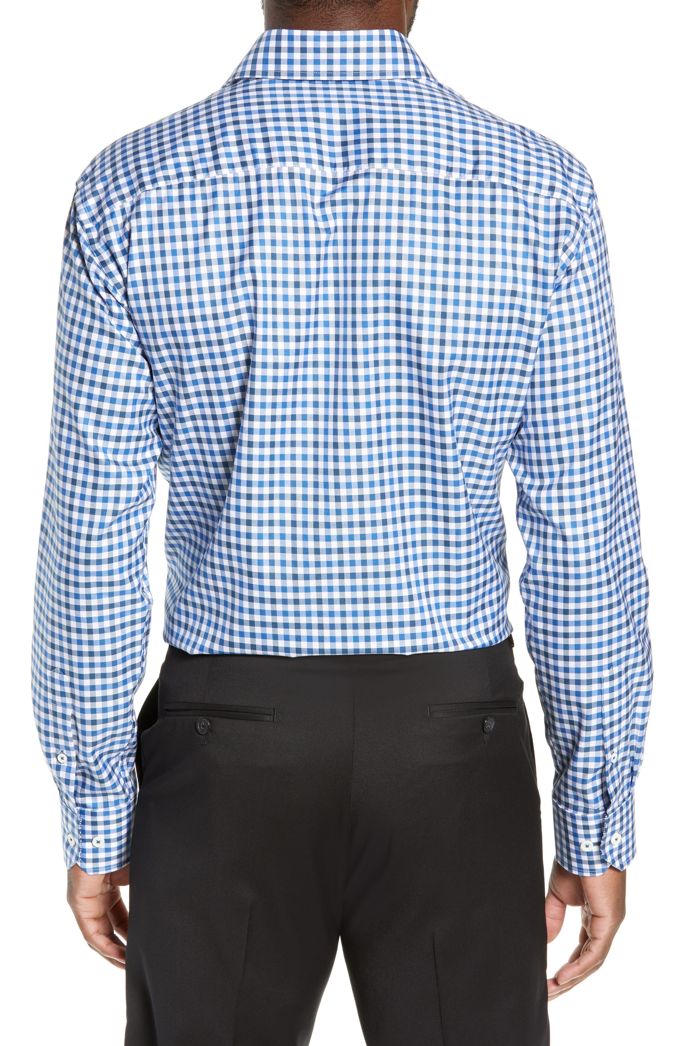 Trim Fit Check Dress Shirt,                             Alternate thumbnail 3, color,                             CLASSIC BLUE