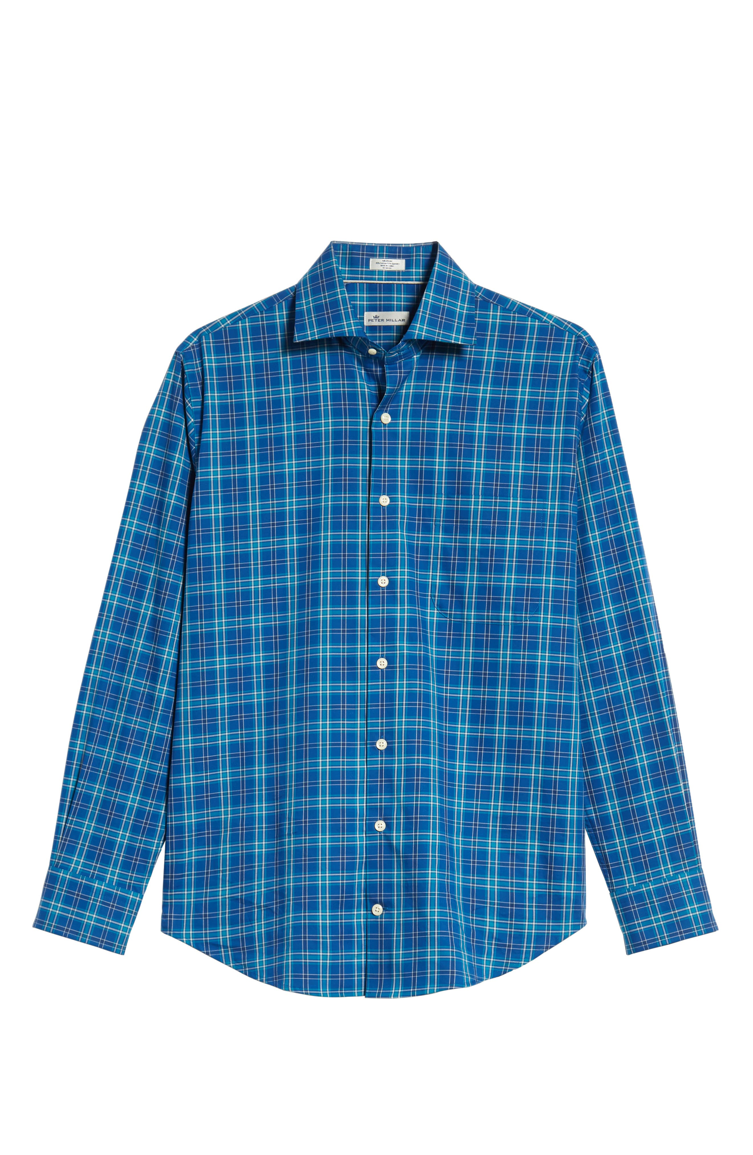 Crown Ease Salamanca Regular Fit Plaid Sport Shirt,                             Alternate thumbnail 5, color,                             BLUE
