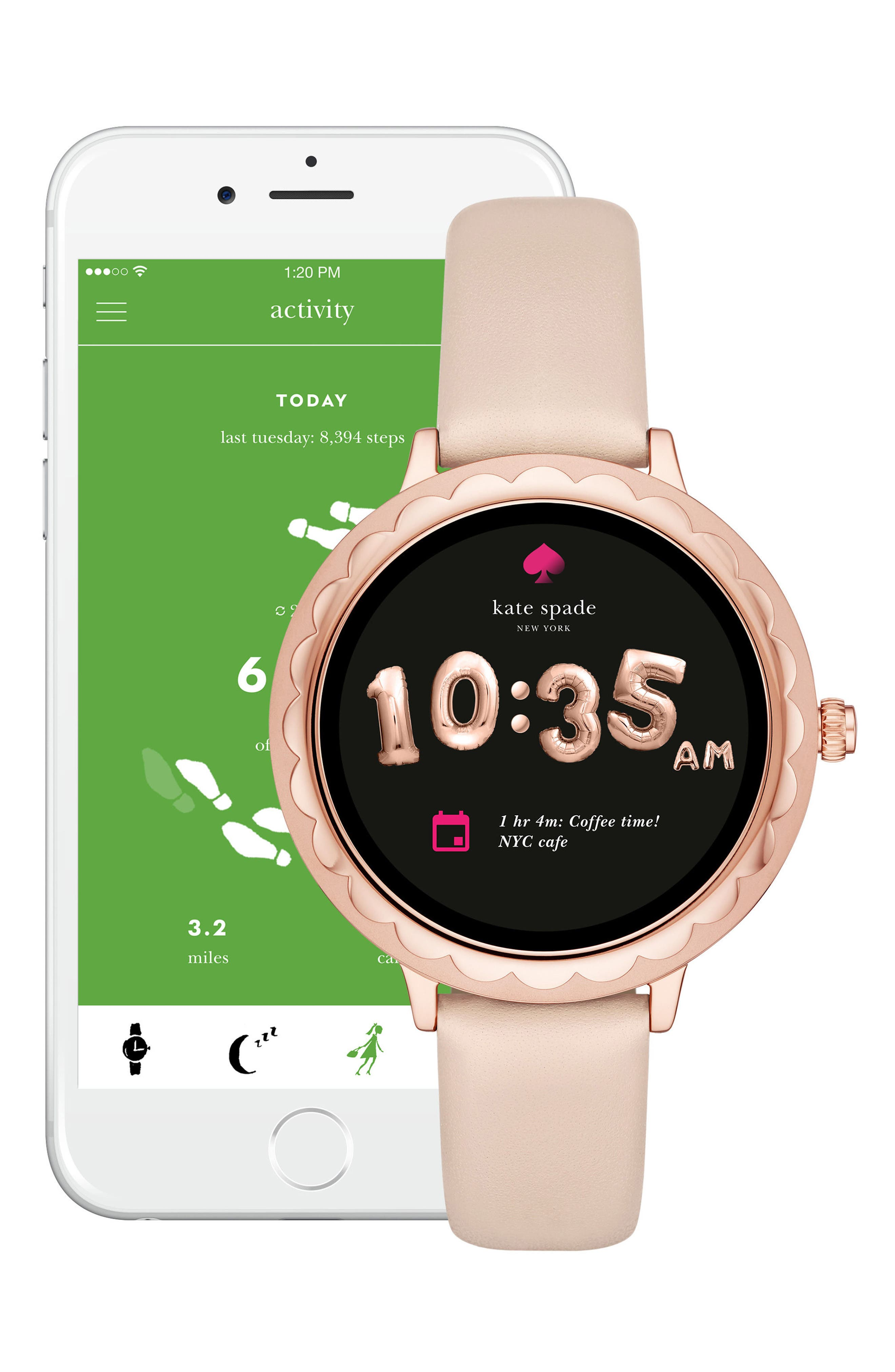 scallop leather strap touchscreen smart watch, 42mm,                             Alternate thumbnail 5, color,                             BEIGE/ PINK