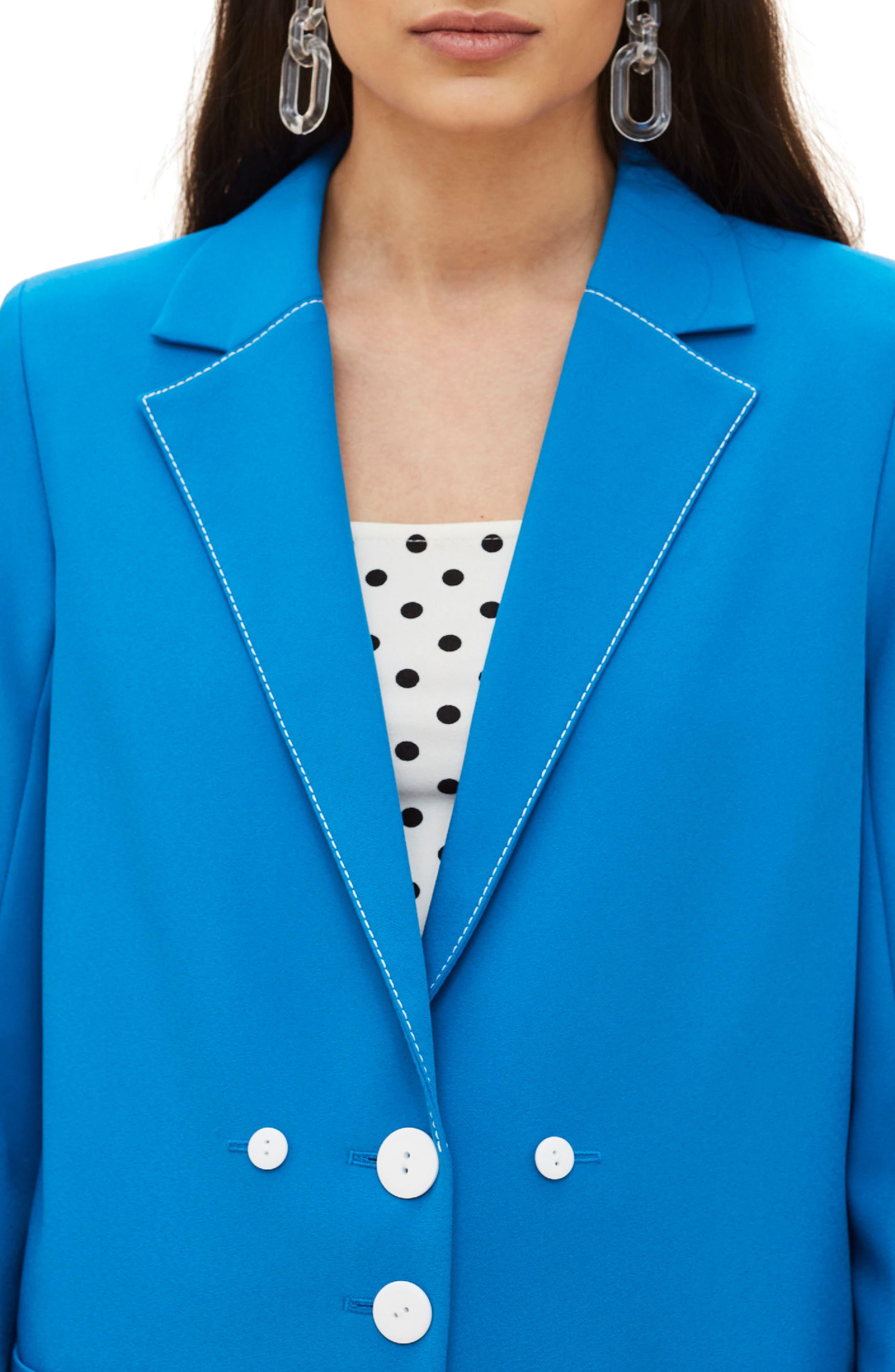 Azure Contrast Stitch Suit Jacket,                             Alternate thumbnail 3, color,