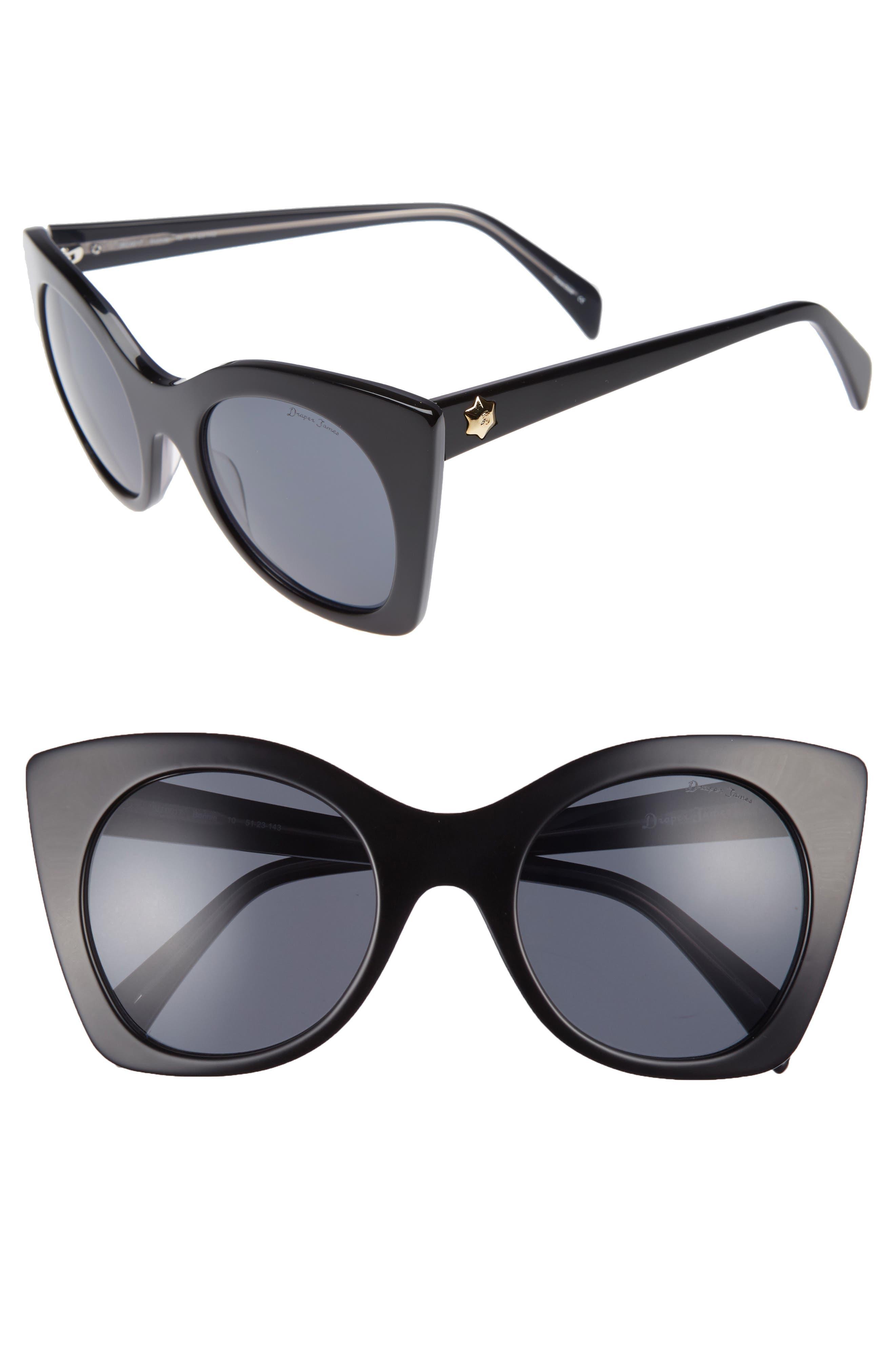 DRAPER JAMES 51mm Geometric Sunglasses, Main, color, 001