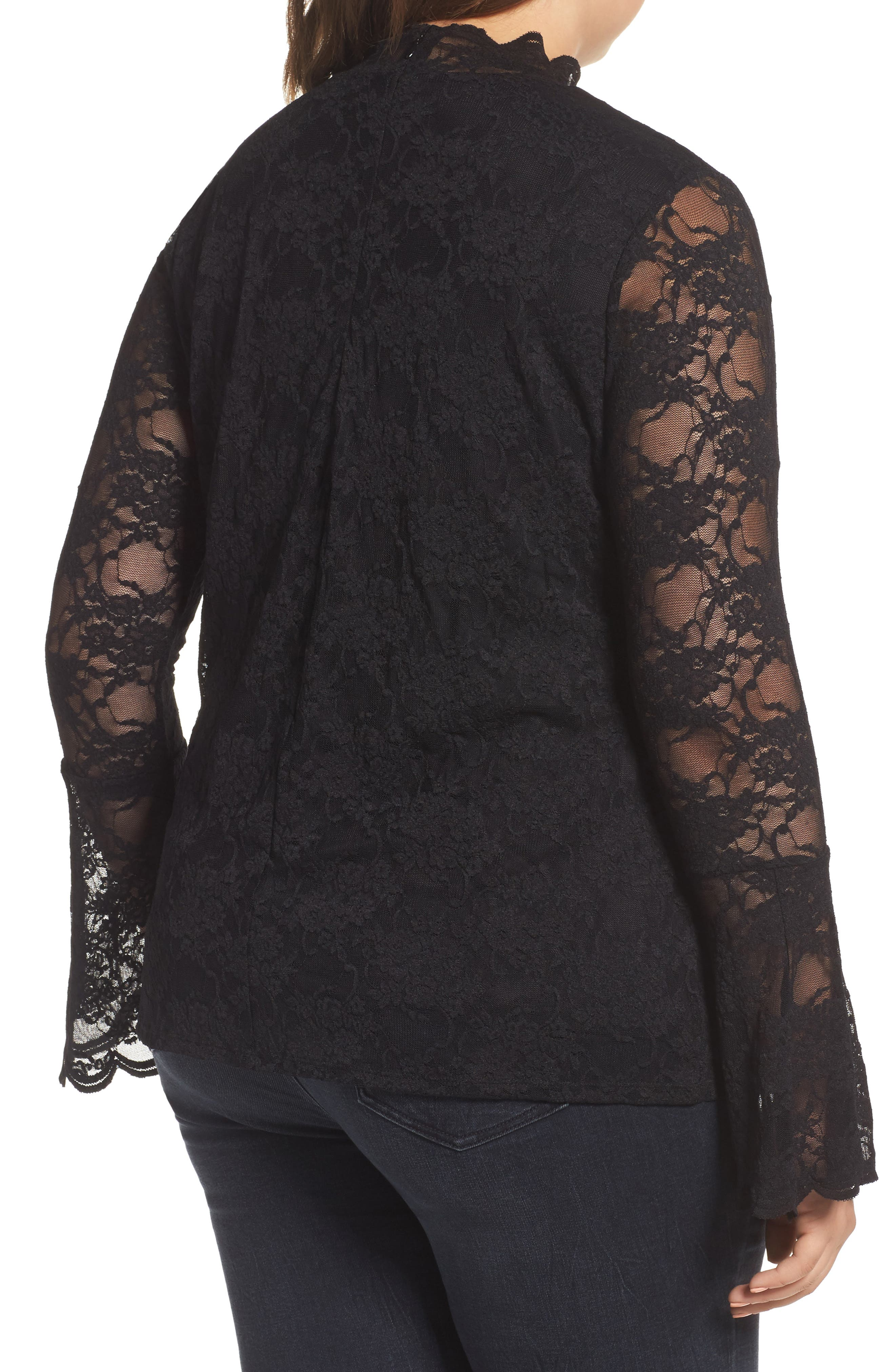 Bell Sleeve Lace Top,                             Alternate thumbnail 2, color,                             010