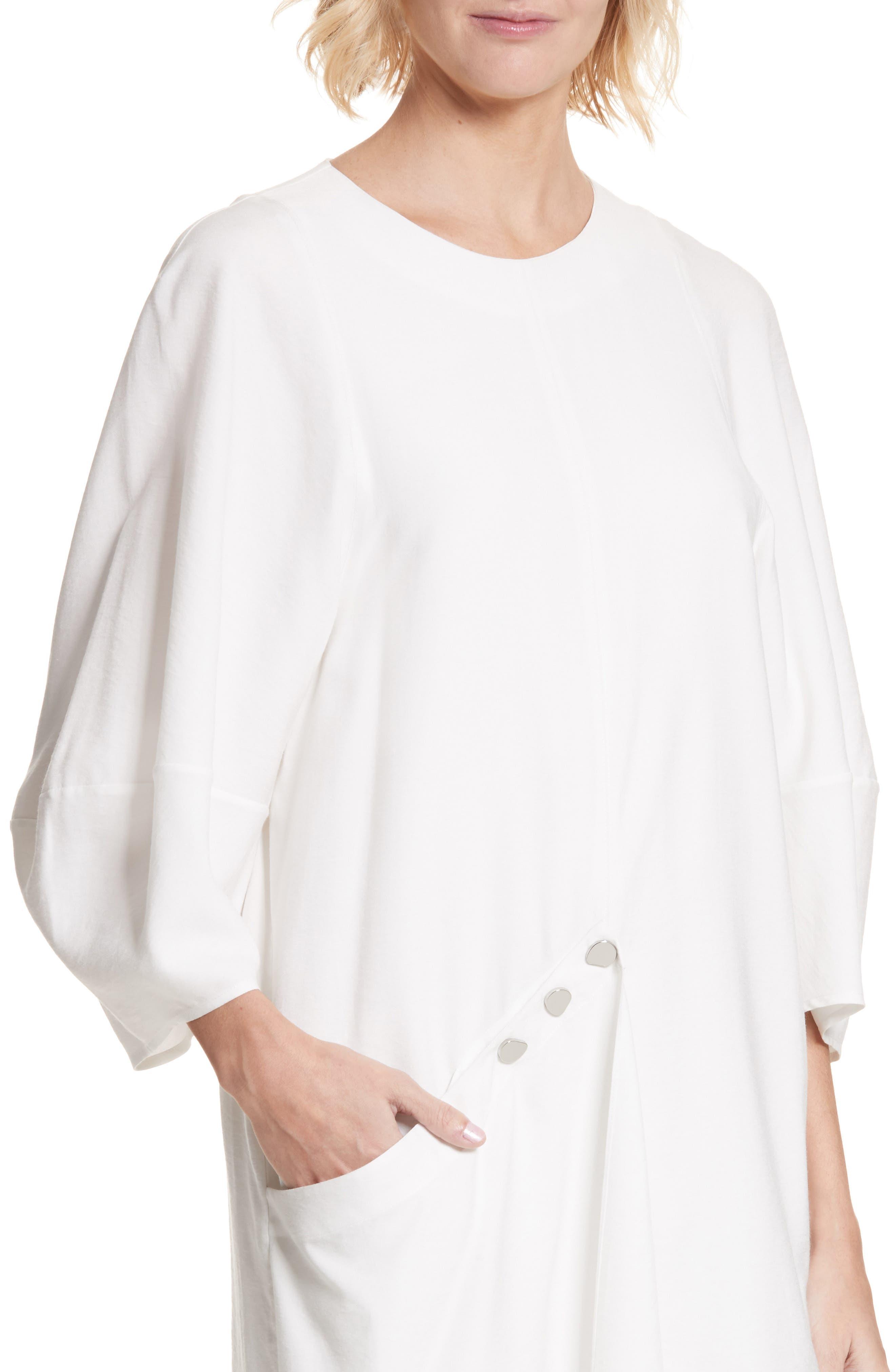 Asymmetrical Flap Front Dress,                             Alternate thumbnail 4, color,                             100