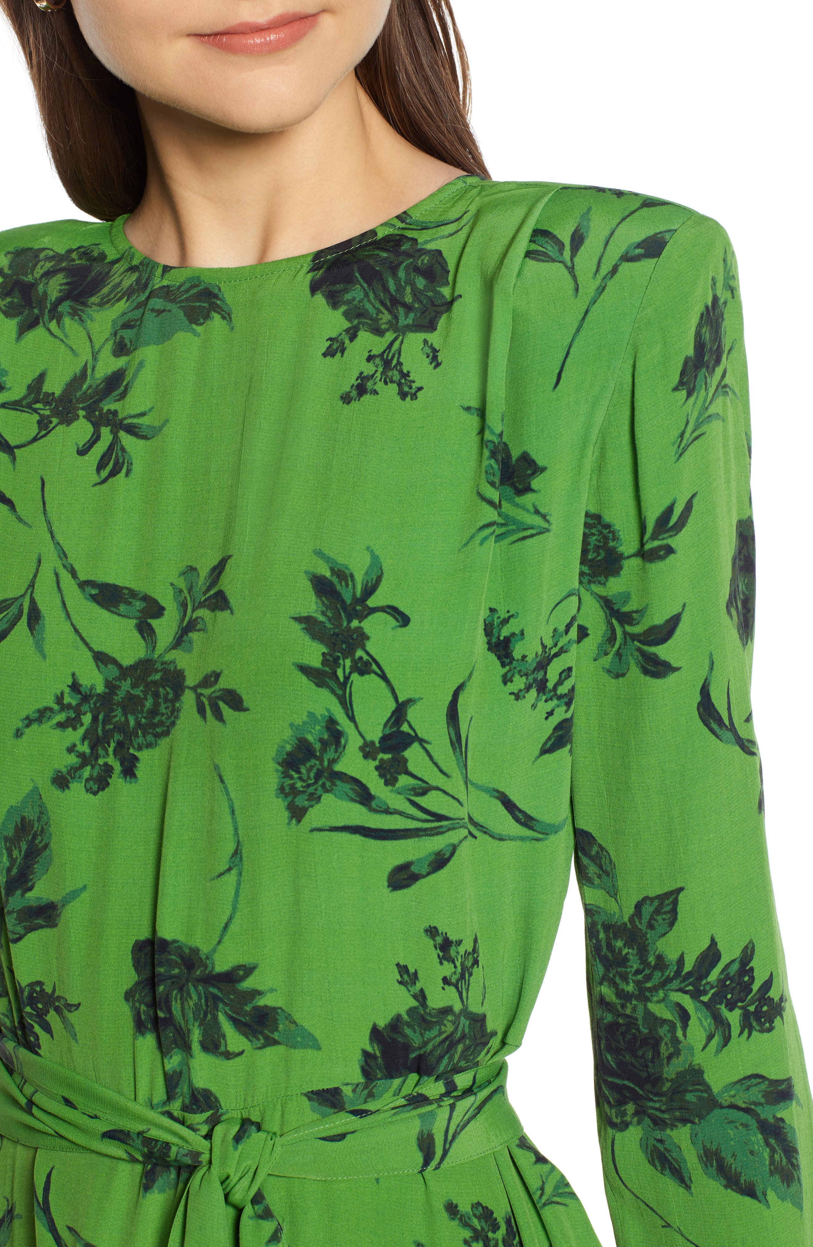 Belted Midi Dress,                             Alternate thumbnail 6, color,                             GREEN ENERGY TONAL FLORAL