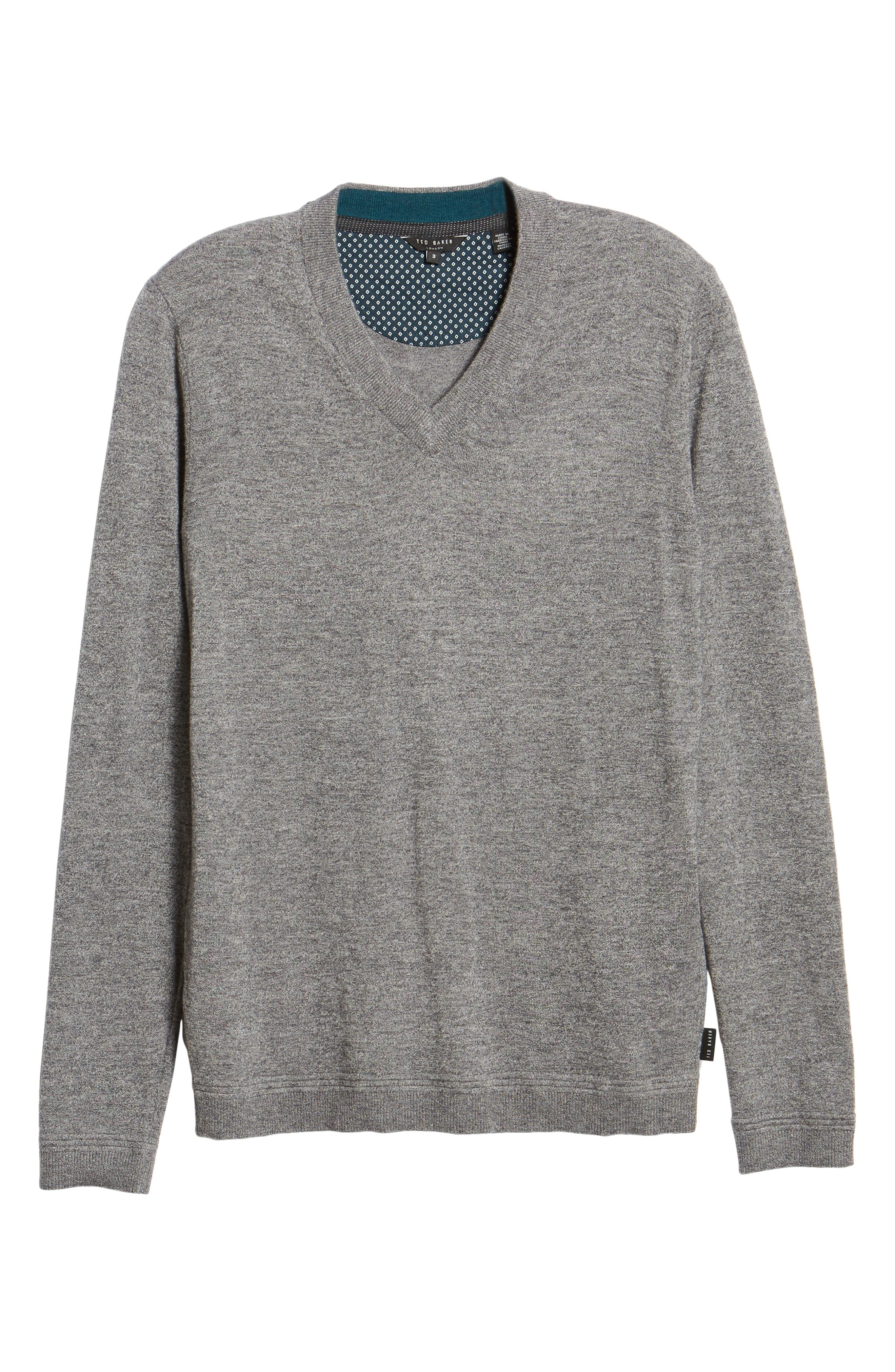 Noel Slim Fit V-Neck Wool Blend Sweater,                             Alternate thumbnail 6, color,                             GREY