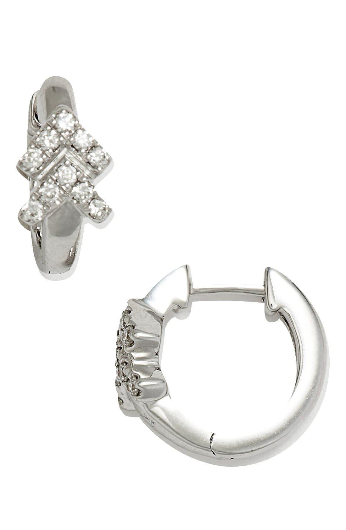 Double Arrow Diamond Hoop Earrings,                             Main thumbnail 3, color,