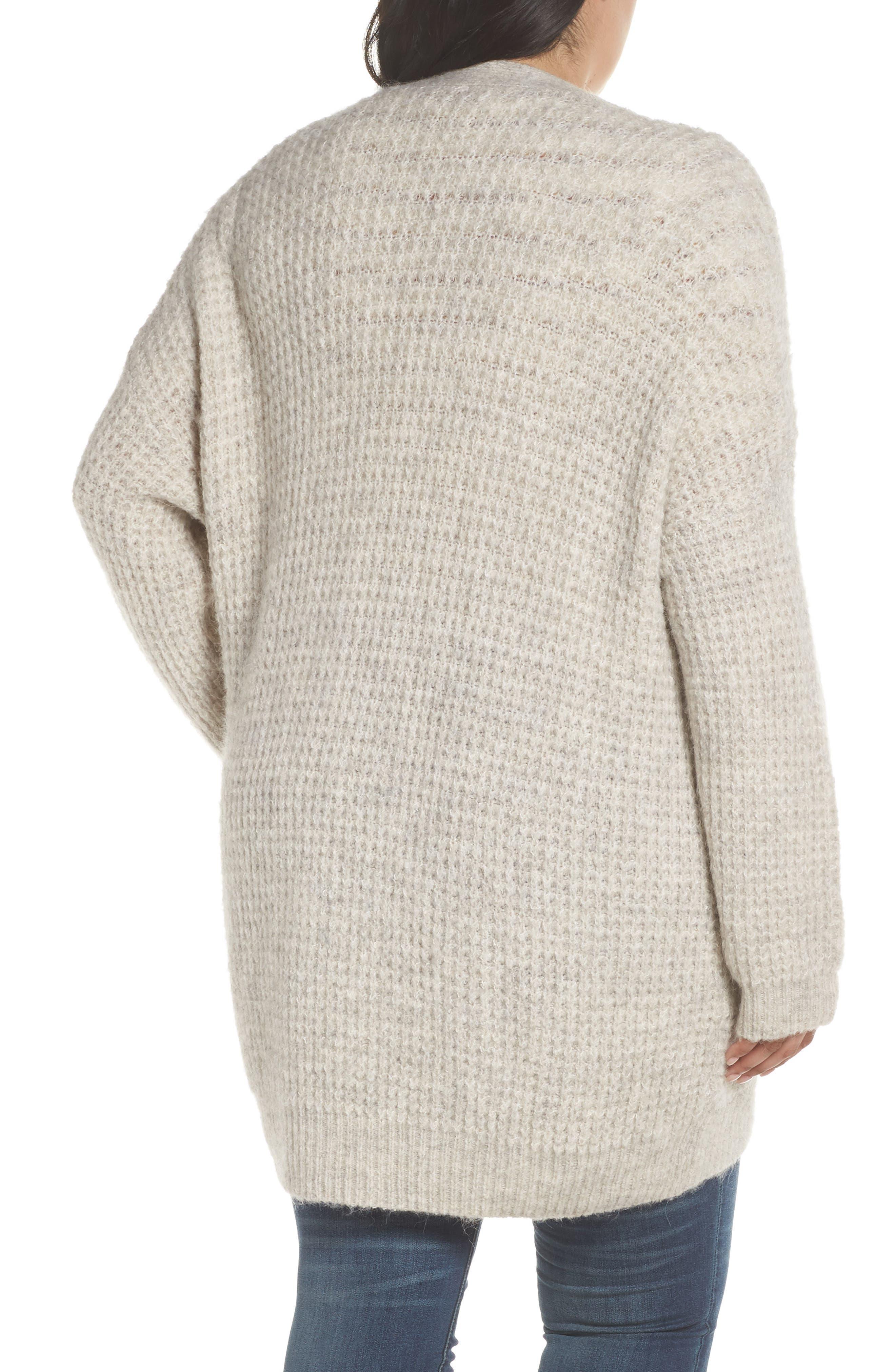 Oversized Waffle Stitch Cardigan,                             Alternate thumbnail 3, color,                             BEIGE BIRCH