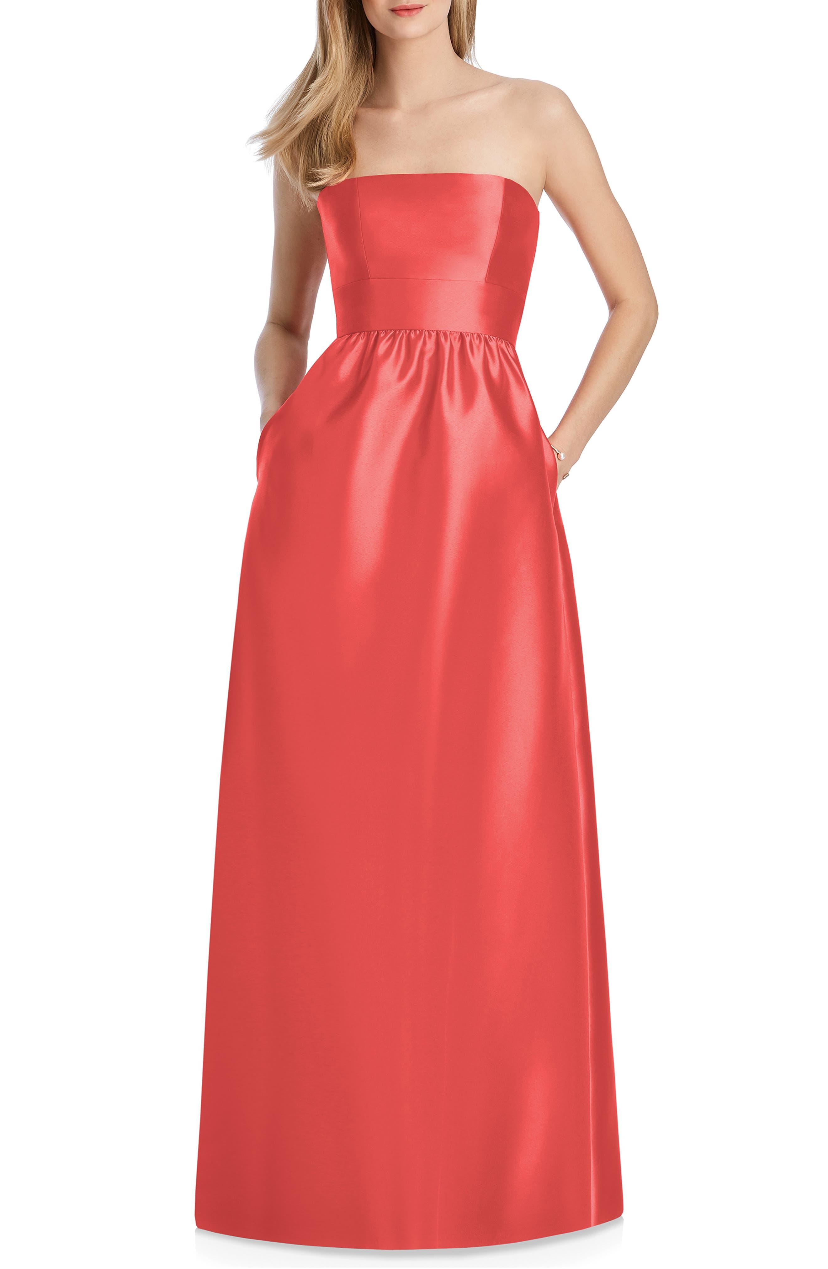 Lela Rose Bridesmaid Strapless Sateen Gown, Orange