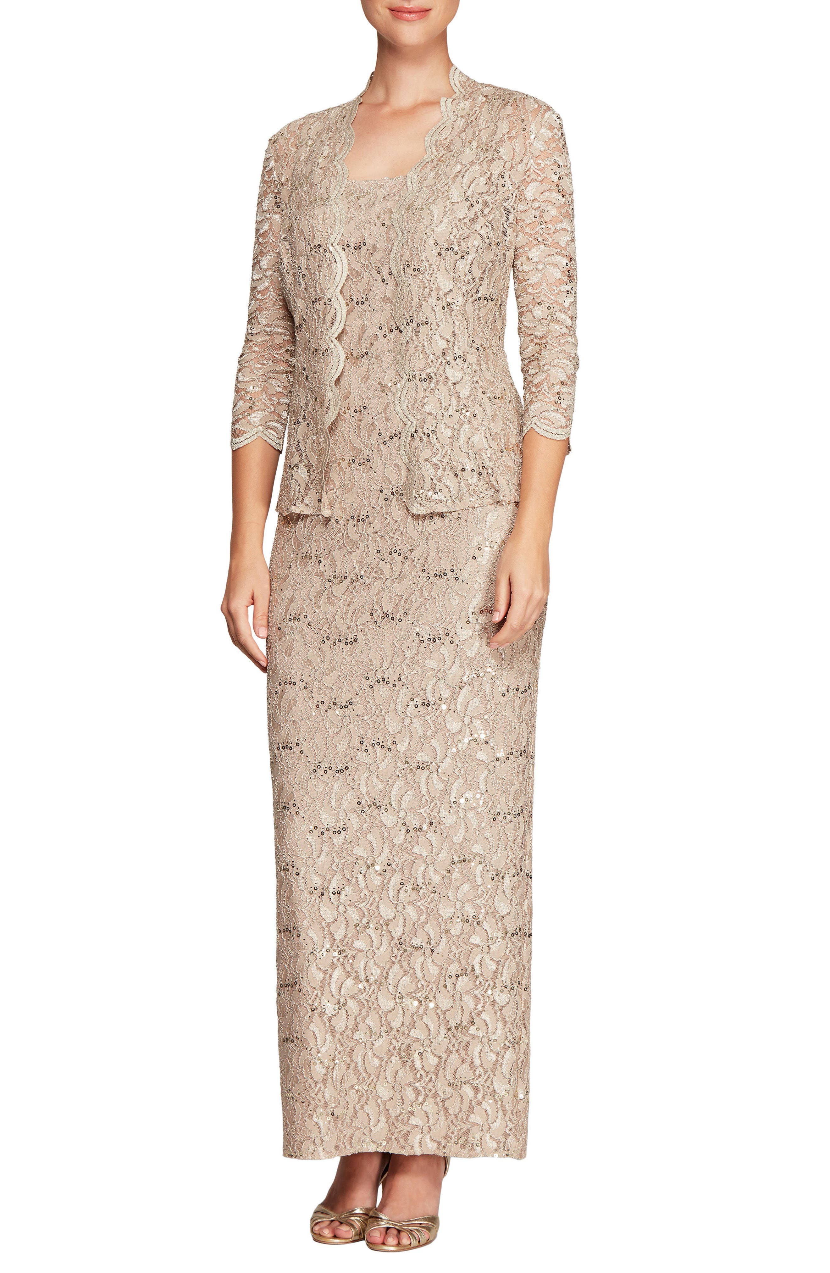 Lace Column Gown with Jacket,                             Main thumbnail 1, color,                             251