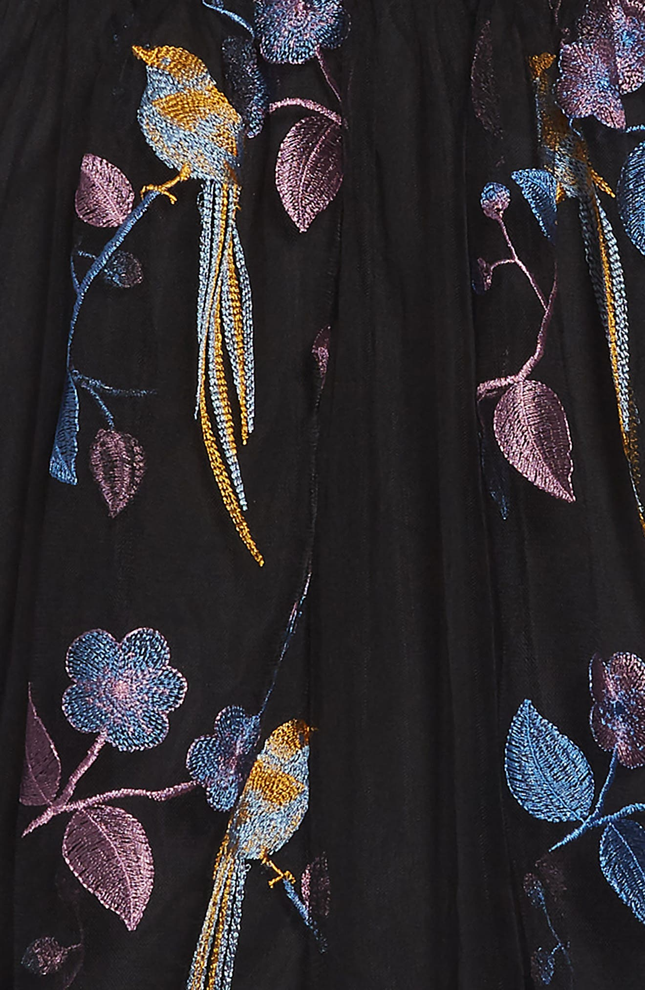 Embroidered Bird Maxi Dress,                             Alternate thumbnail 3, color,                             001