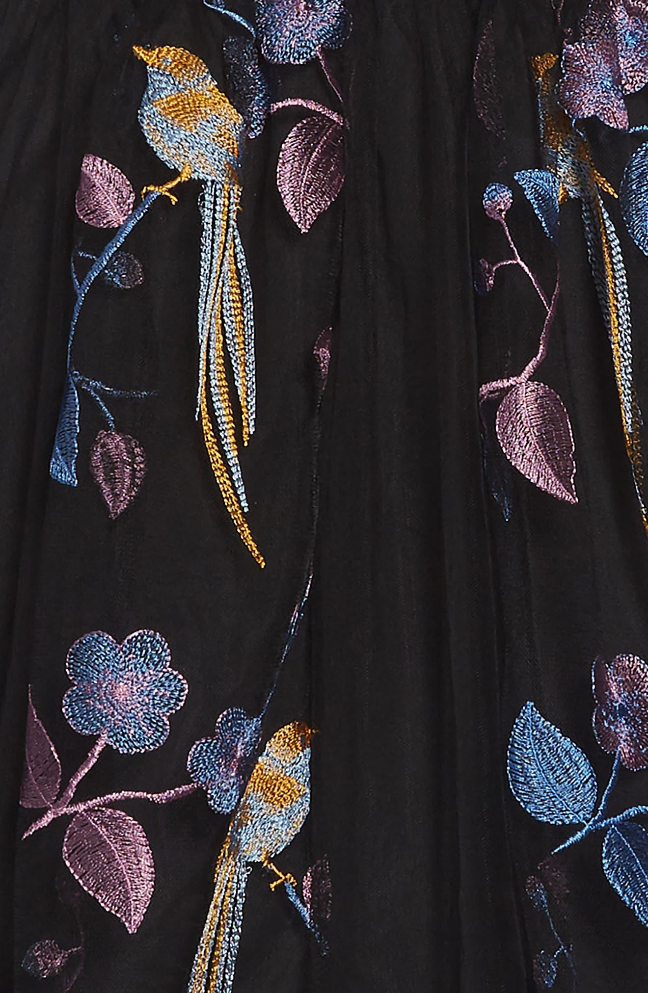Embroidered Bird Maxi Dress,                             Alternate thumbnail 3, color,                             BLACK