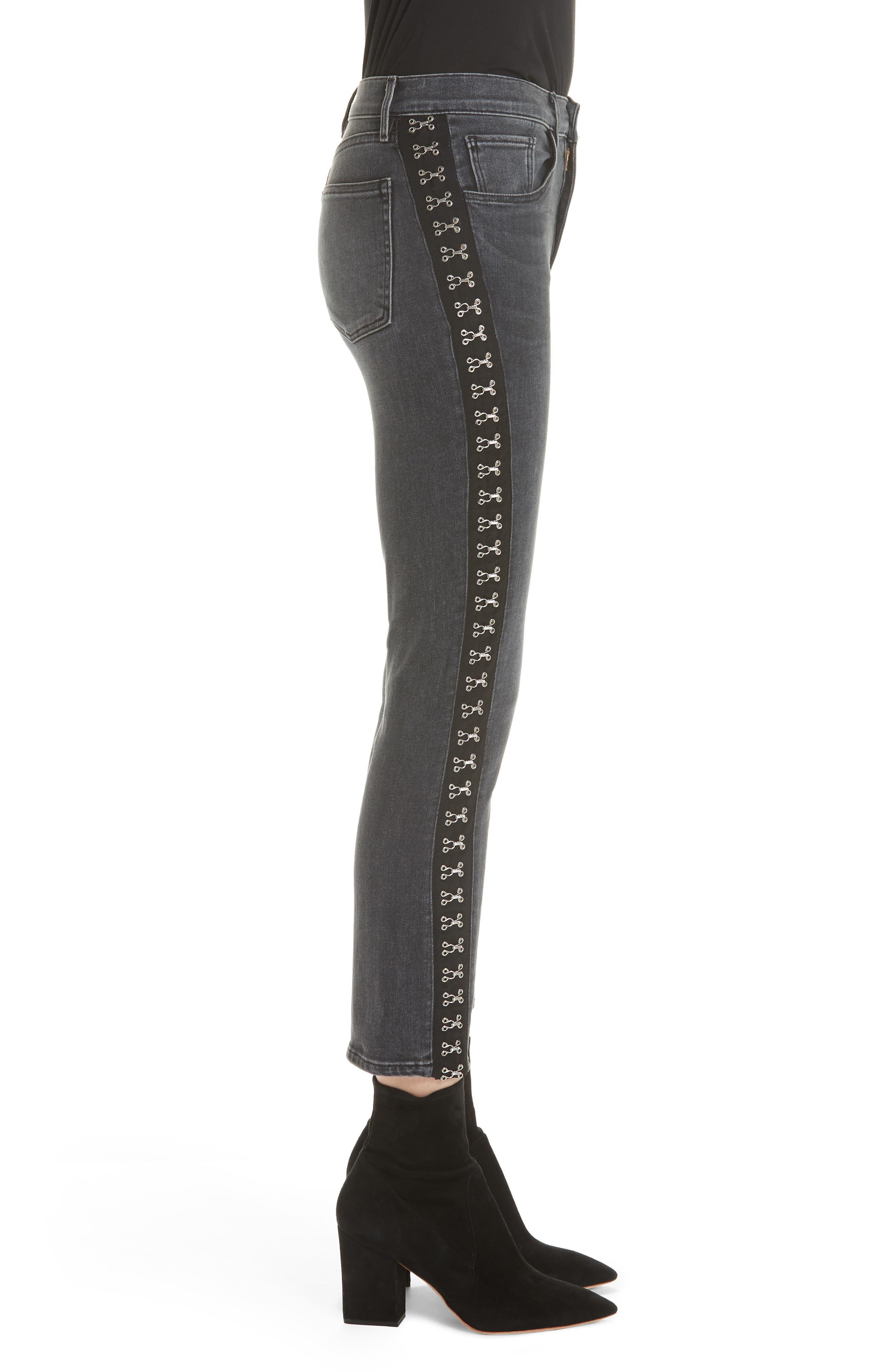 Corset Detail Ankle Skinny Jeans,                             Alternate thumbnail 3, color,                             EDDA