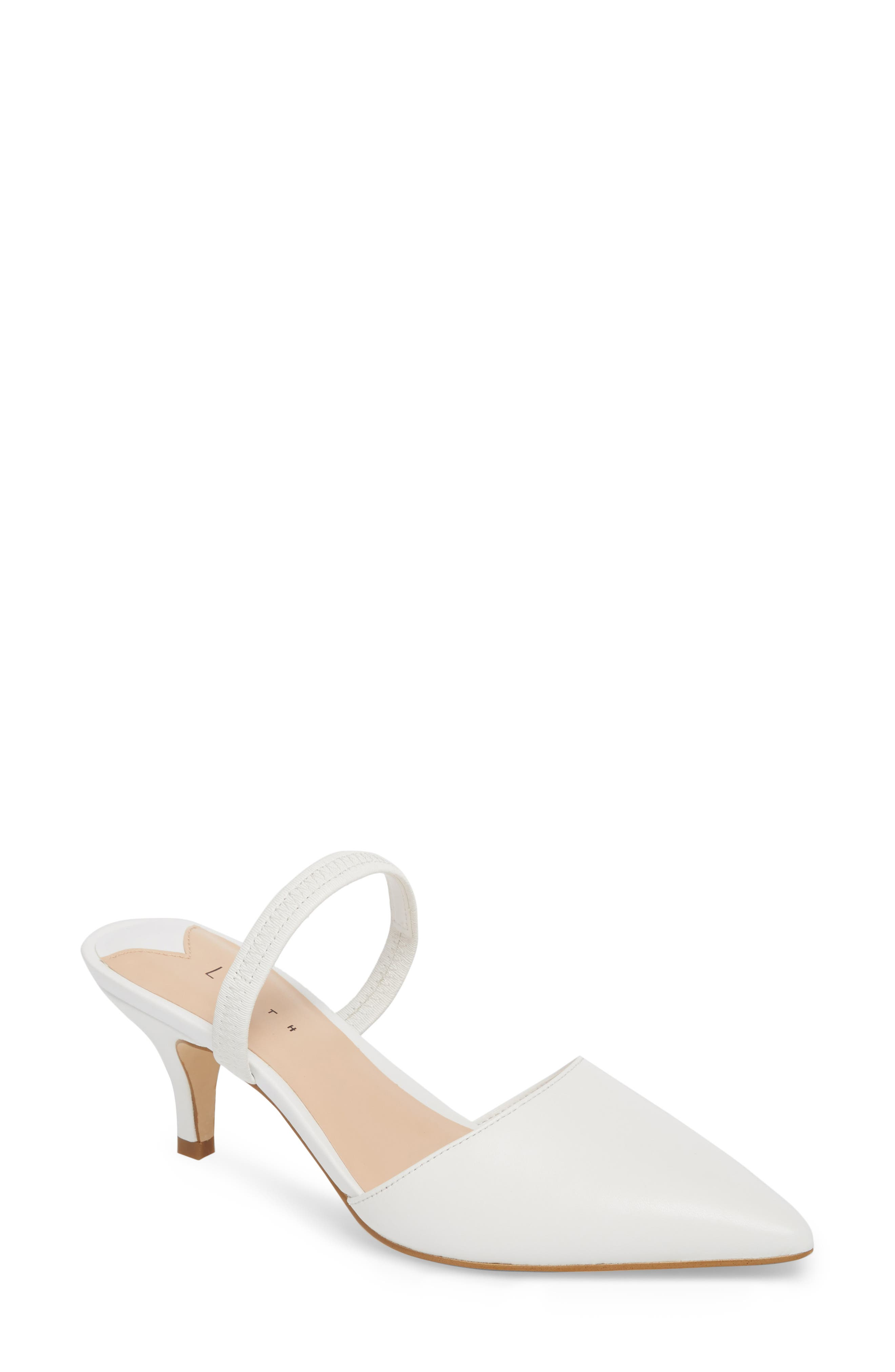 Nikki Convertible Pump,                         Main,                         color, WHITE LEATHER