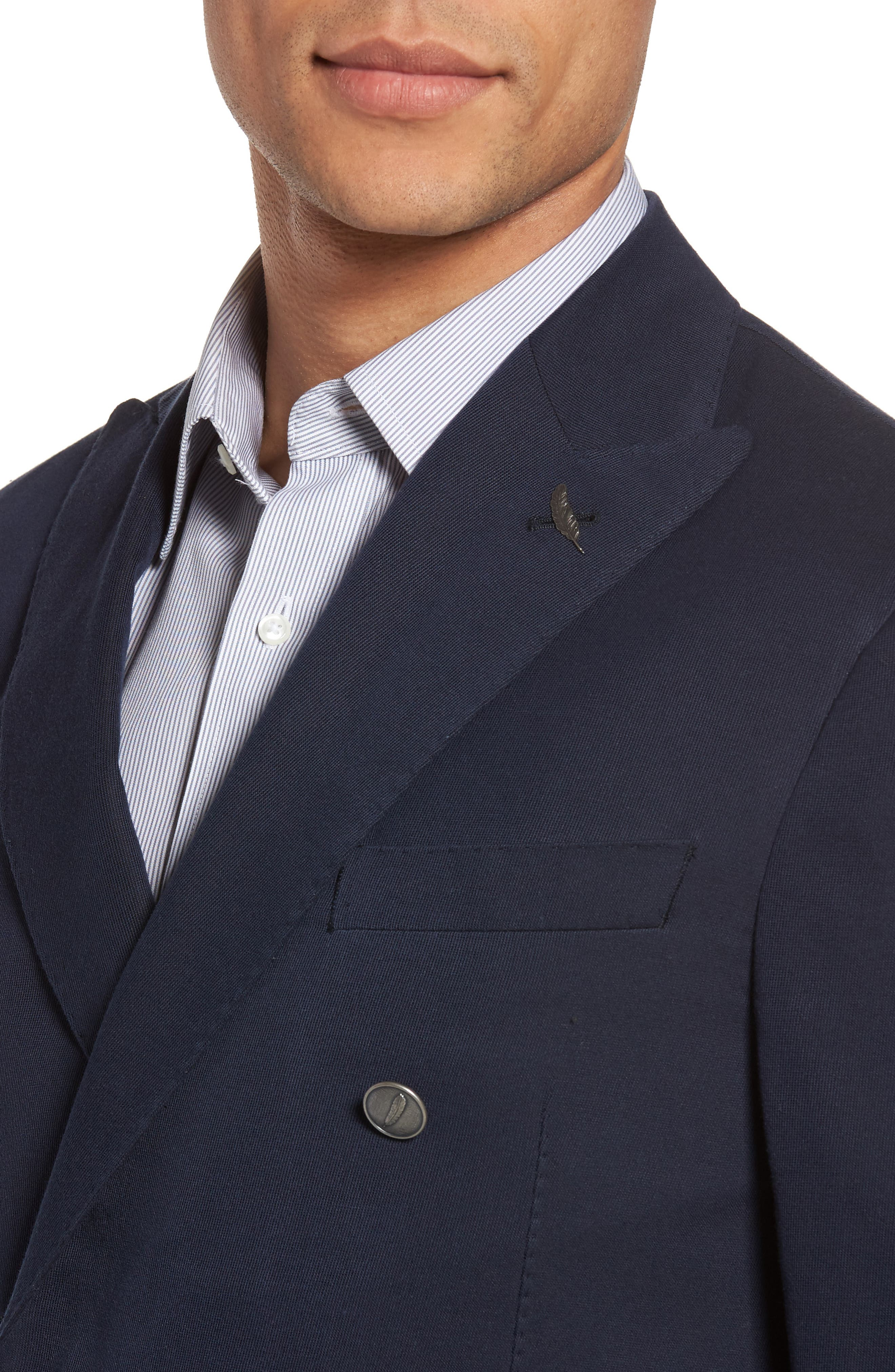 Classic Fit Double Breasted Blazer,                             Alternate thumbnail 4, color,