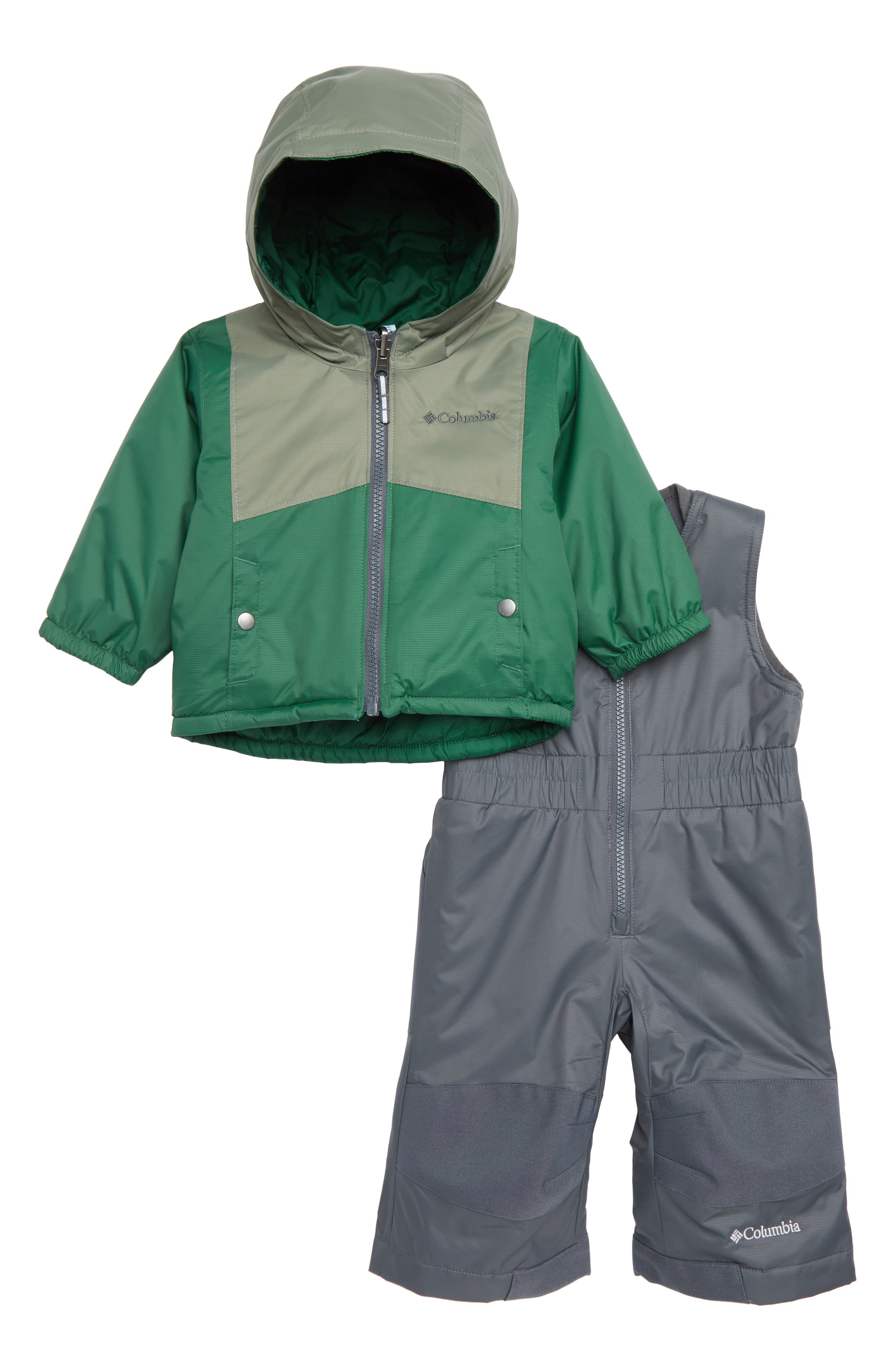 Double Flake Waterproof Insulated Jacket & Bib Snowsuit,                             Main thumbnail 1, color,                             FOREST, CYPRESS