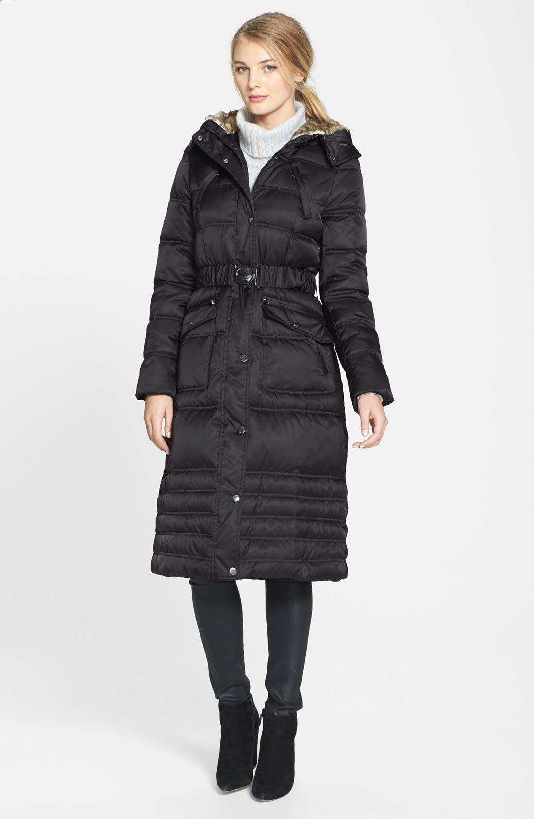 Faux Fur Trim Puffer Coat,                             Alternate thumbnail 2, color,                             001