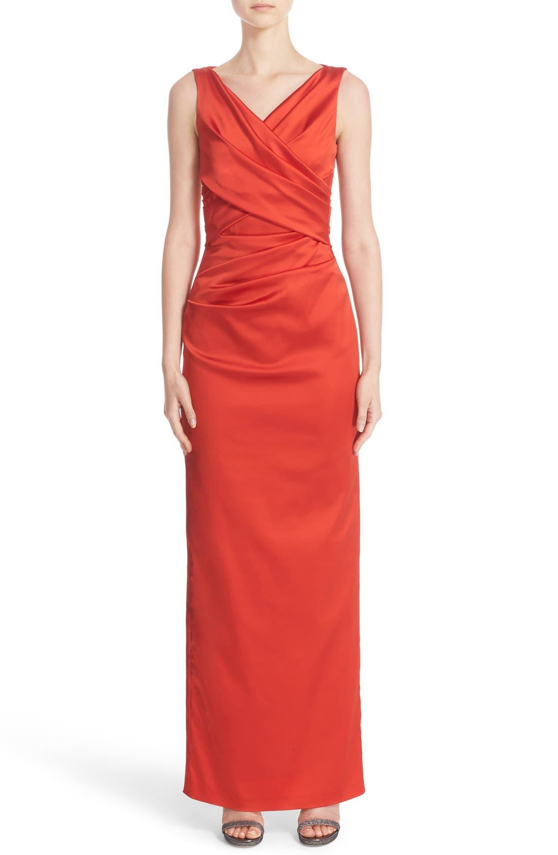 V-Neck Ruched Stretch Satin Column Gown,                             Main thumbnail 2, color,