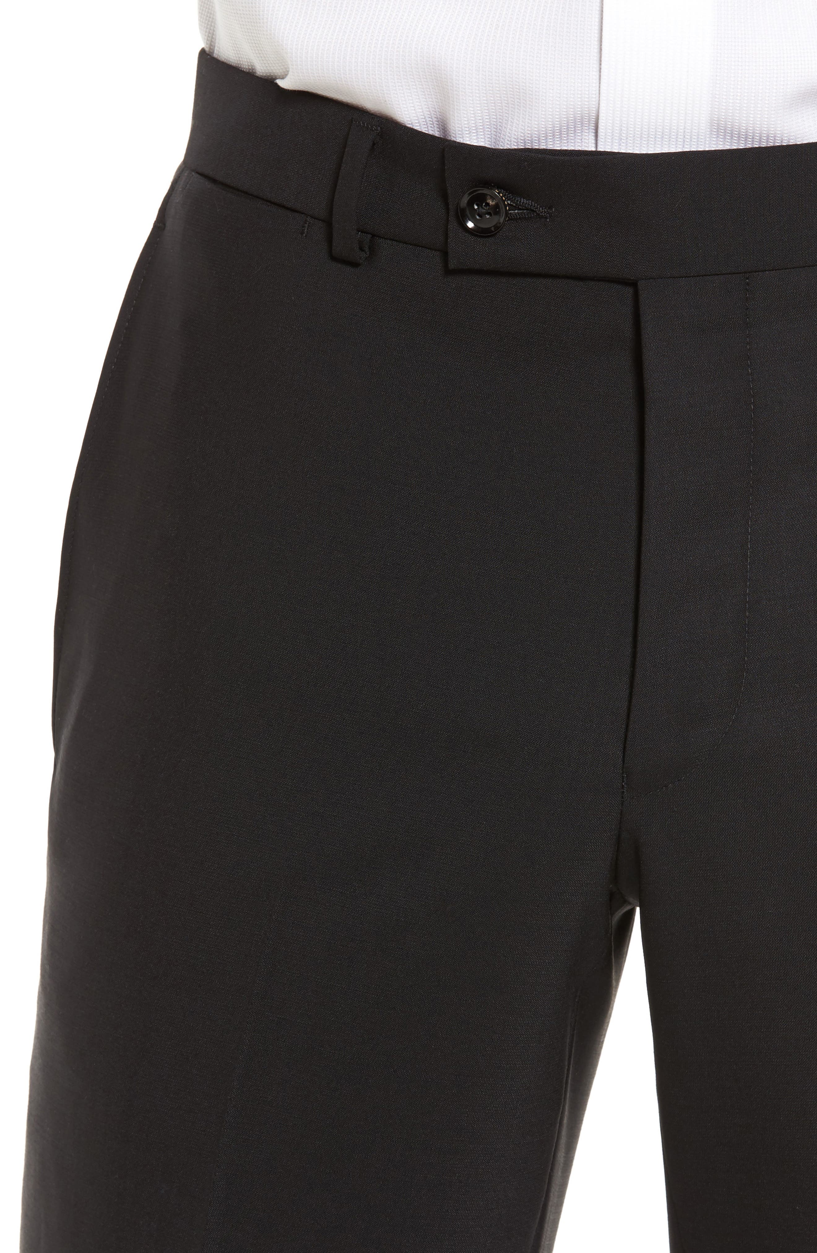 Jefferson Flat Front Solid Wool Trousers,                             Alternate thumbnail 5, color,                             BLACK