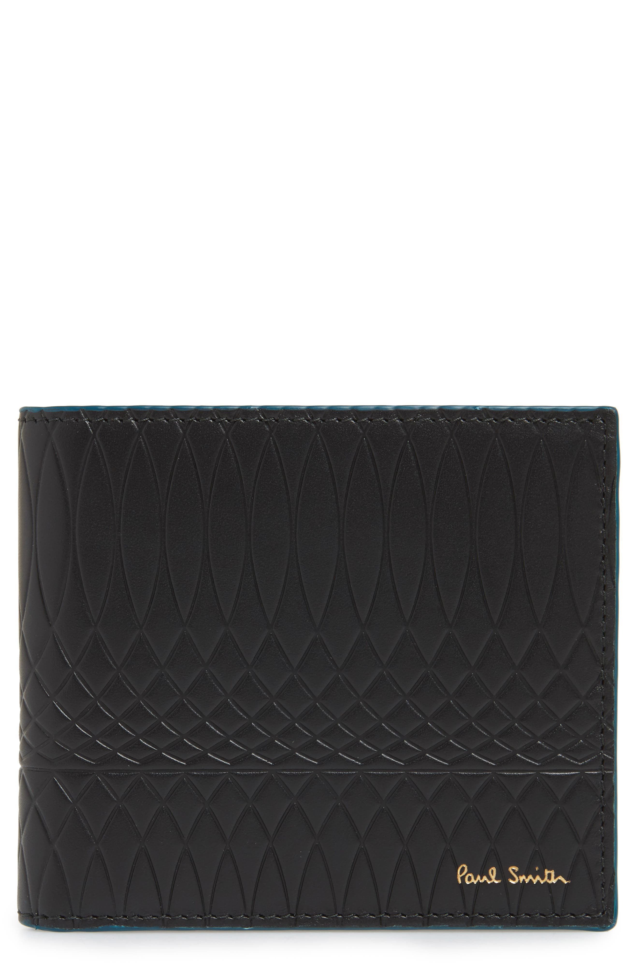 Embossed Leather Billfold Wallet,                             Main thumbnail 1, color,                             BLACK