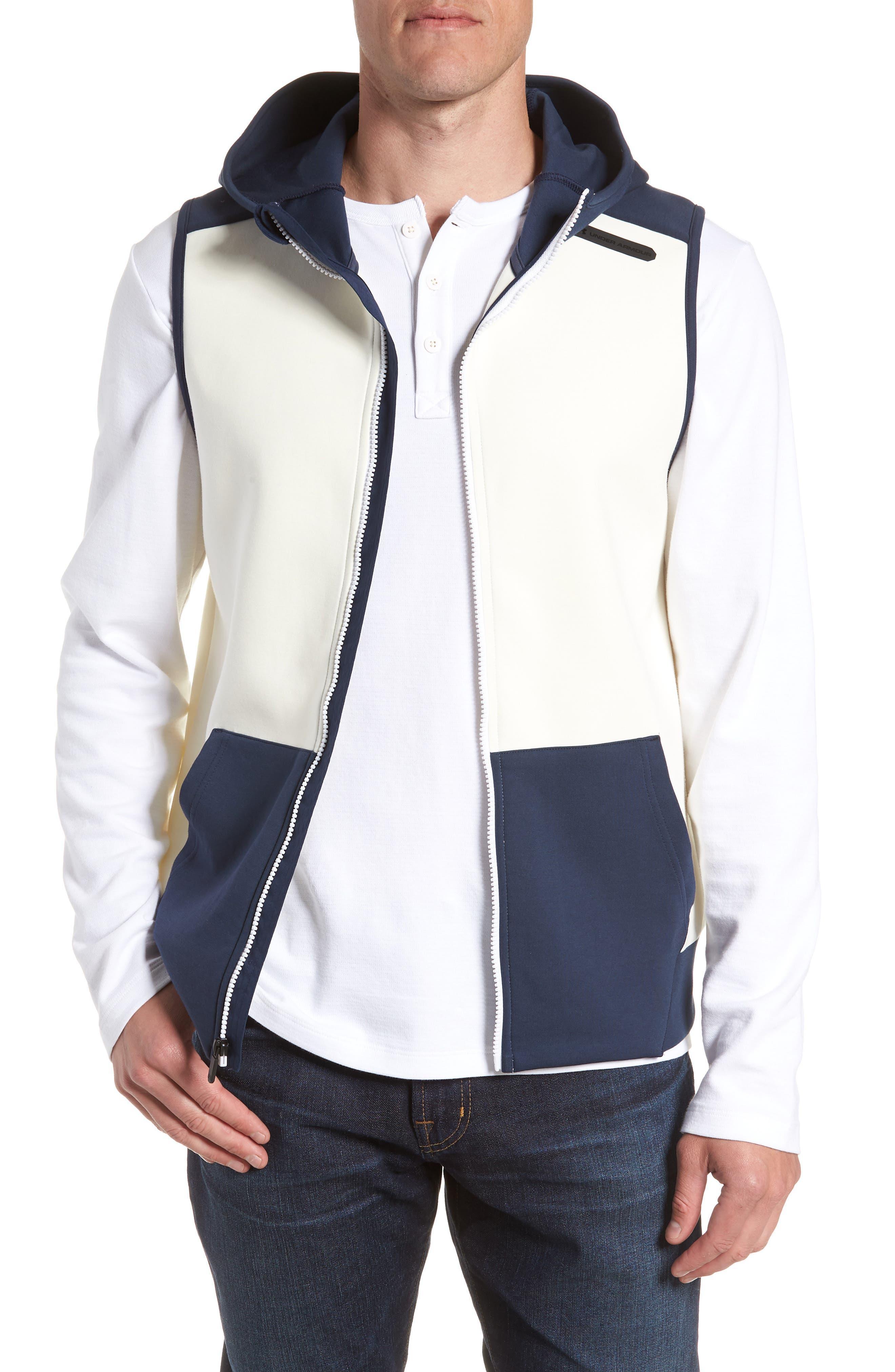 Unstoppable Knit Vest,                             Main thumbnail 1, color,                             WHITE / SUMMER NIGHT / BLACK