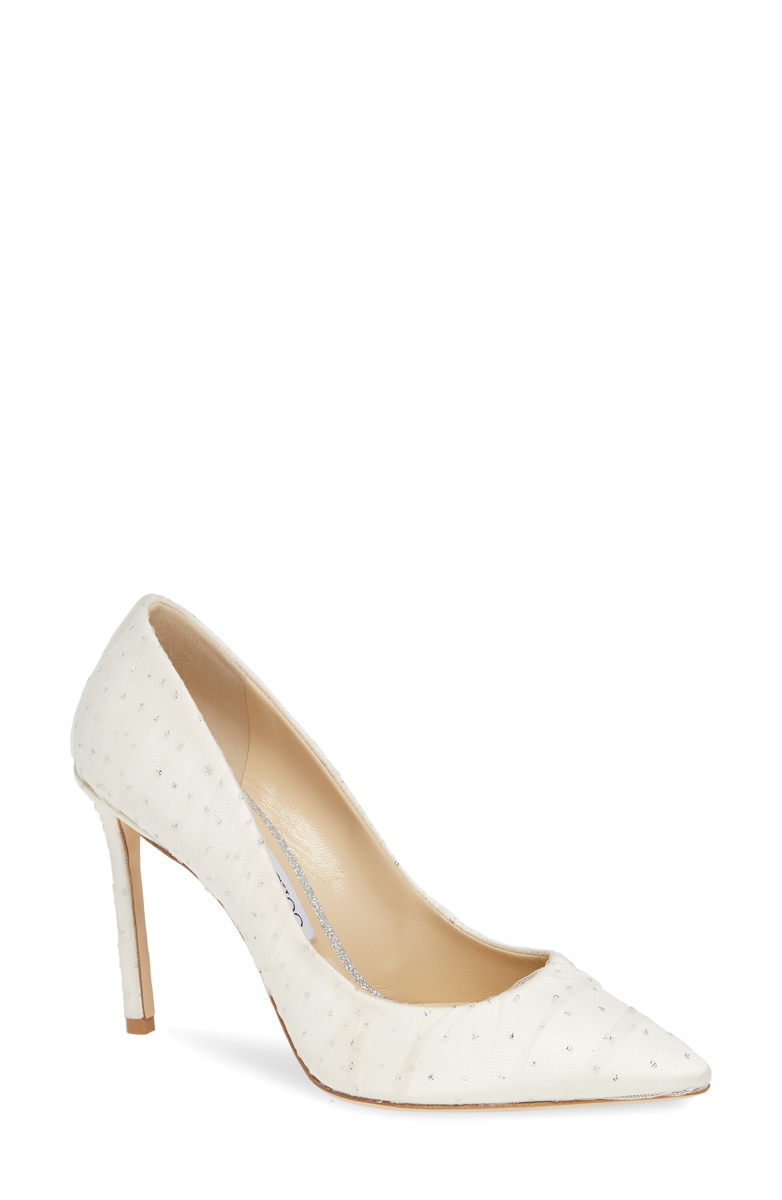 Romy Pointy Toe Pump,                             Main thumbnail 1, color,                             WHITE/ SILVER