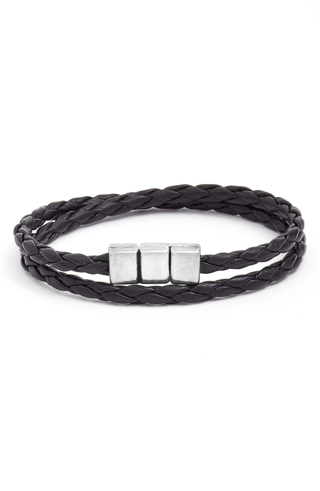 Braided Leather Wrap Bracelet,                             Main thumbnail 1, color,                             001