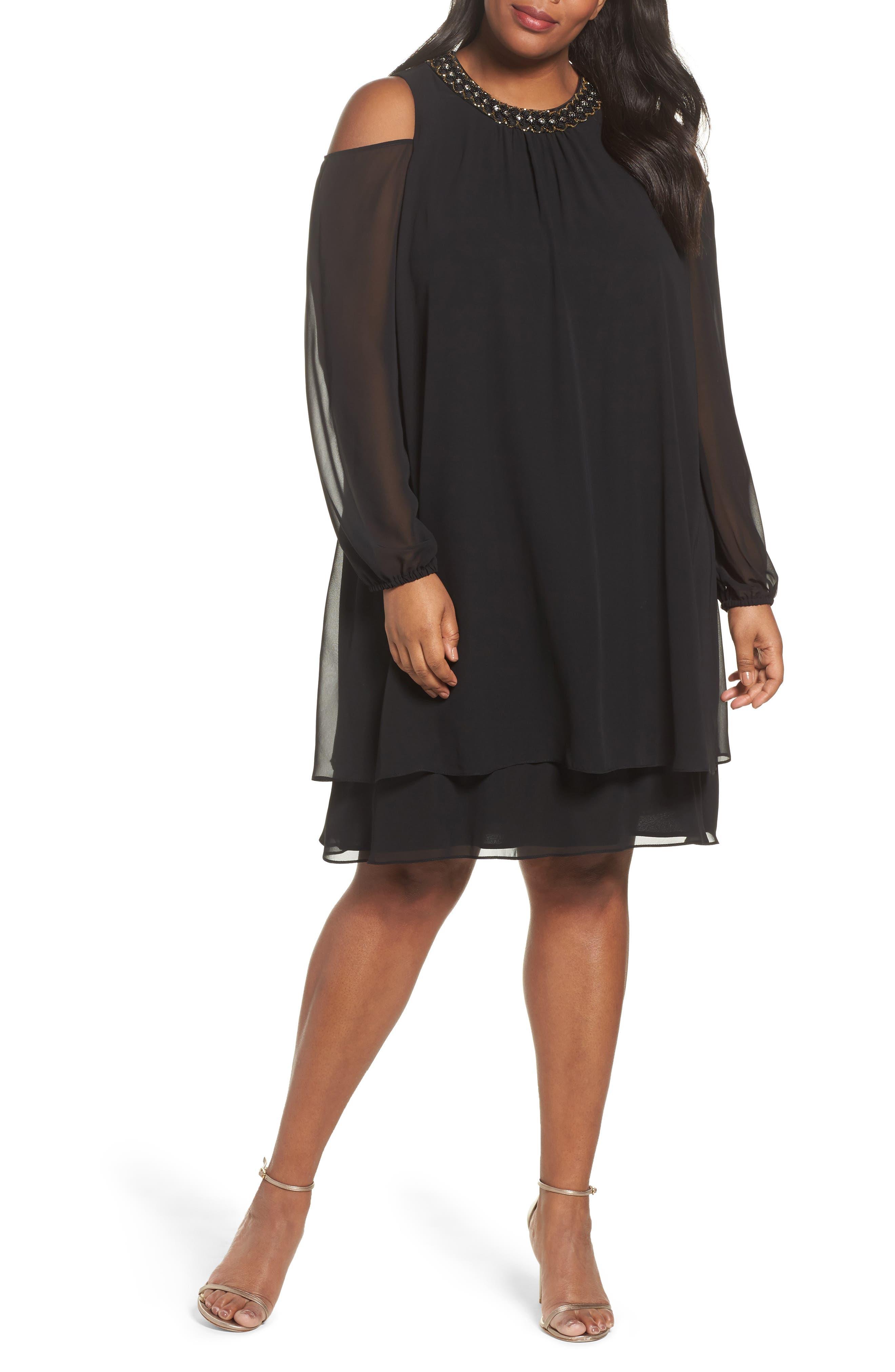 Embellished Cold Shoulder Shift Dress,                             Main thumbnail 1, color,                             011