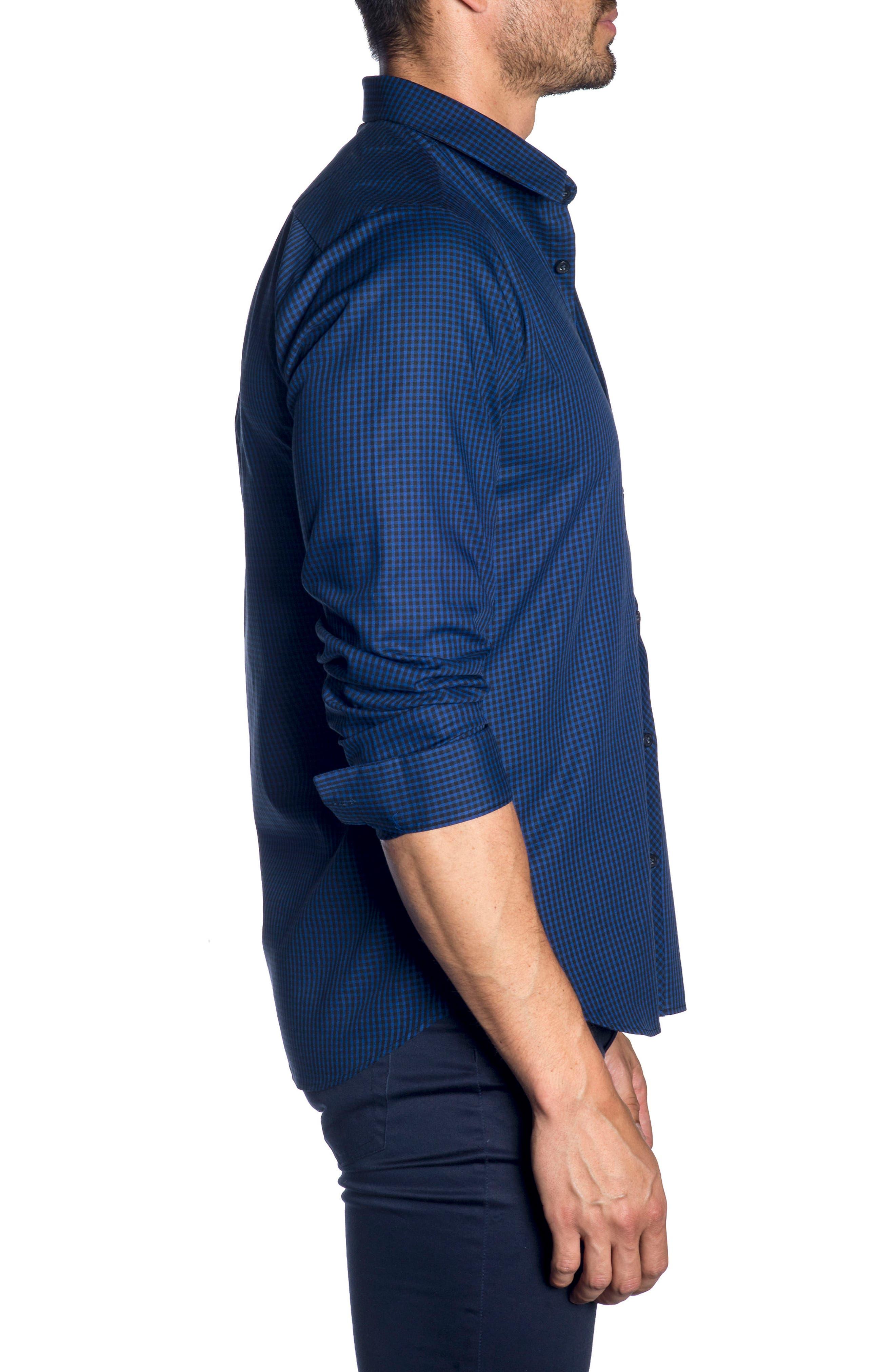 Trim Fit Sport Shirt,                             Alternate thumbnail 3, color,                             BLACK BLUE MICRO CHECK