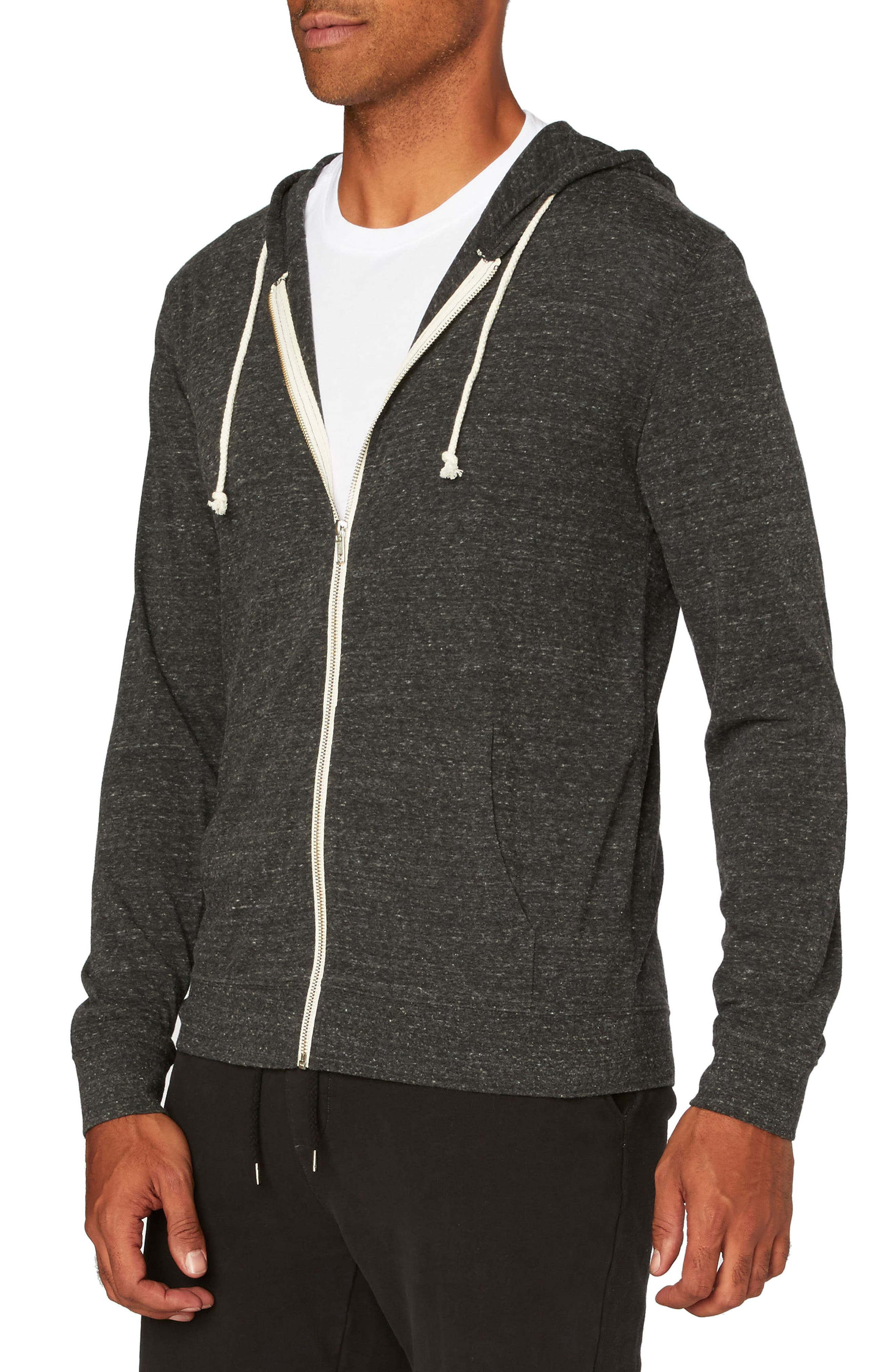 Threads for Thought Giulio Zip Hoodie,                             Alternate thumbnail 3, color,                             HEATHER BLACK