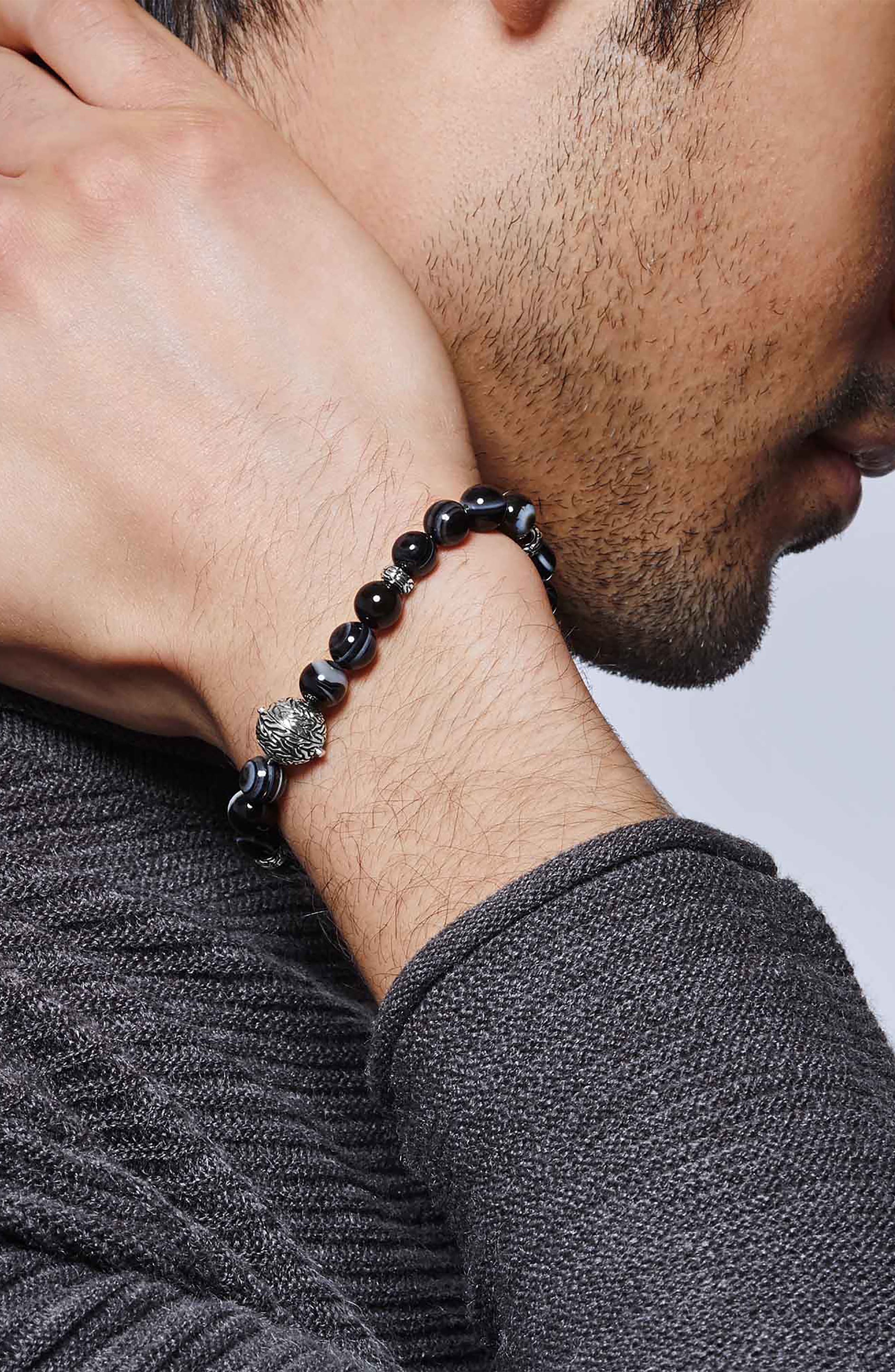 Men's Classic Chain Banded Agate Bracelet,                             Alternate thumbnail 2, color,                             SILVER/ SODALITE/ HEMATITE