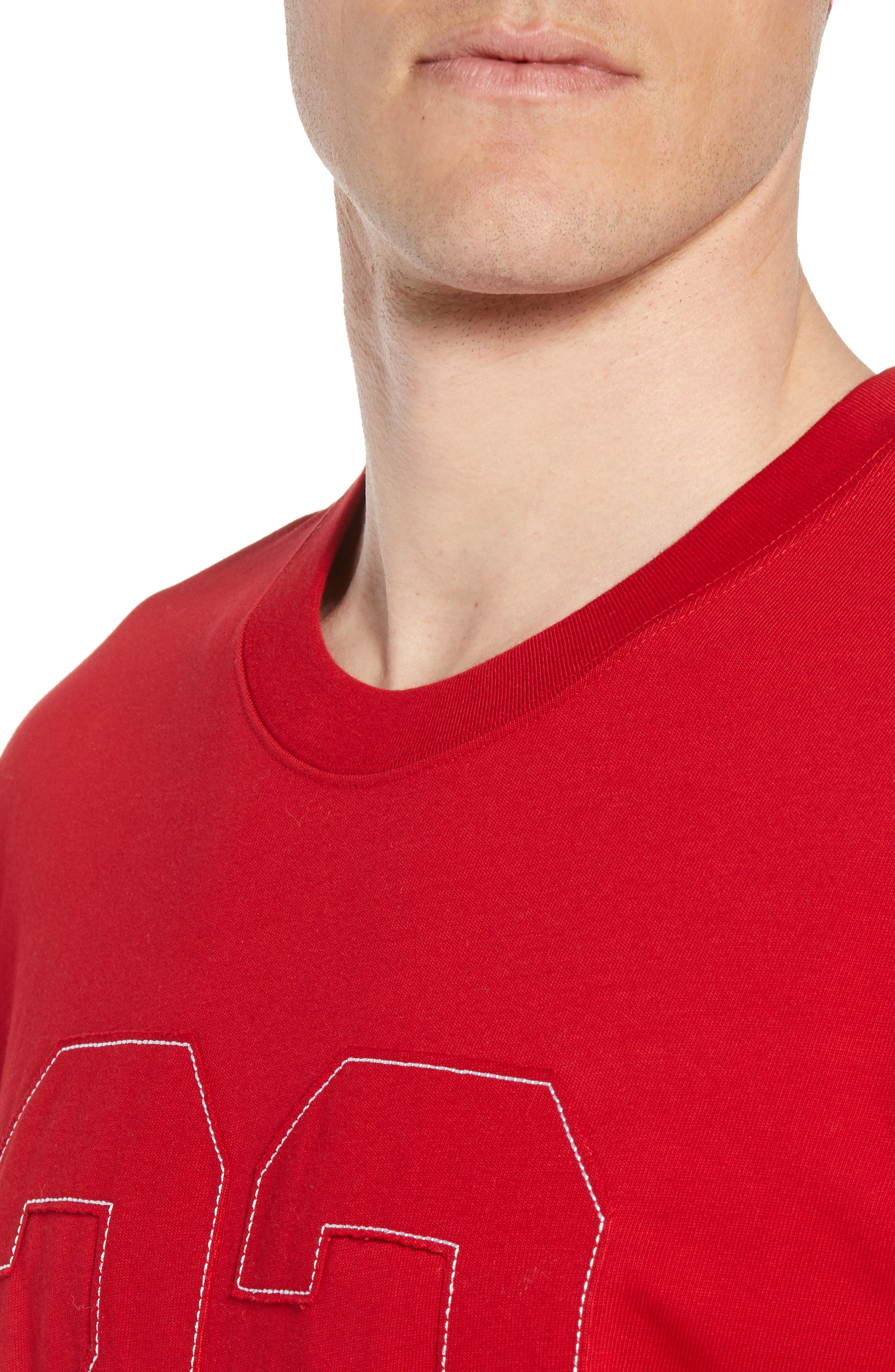 Nike Oversize 23 Graphic T-Shirt,                             Alternate thumbnail 4, color,                             GYM RED/ WHITE