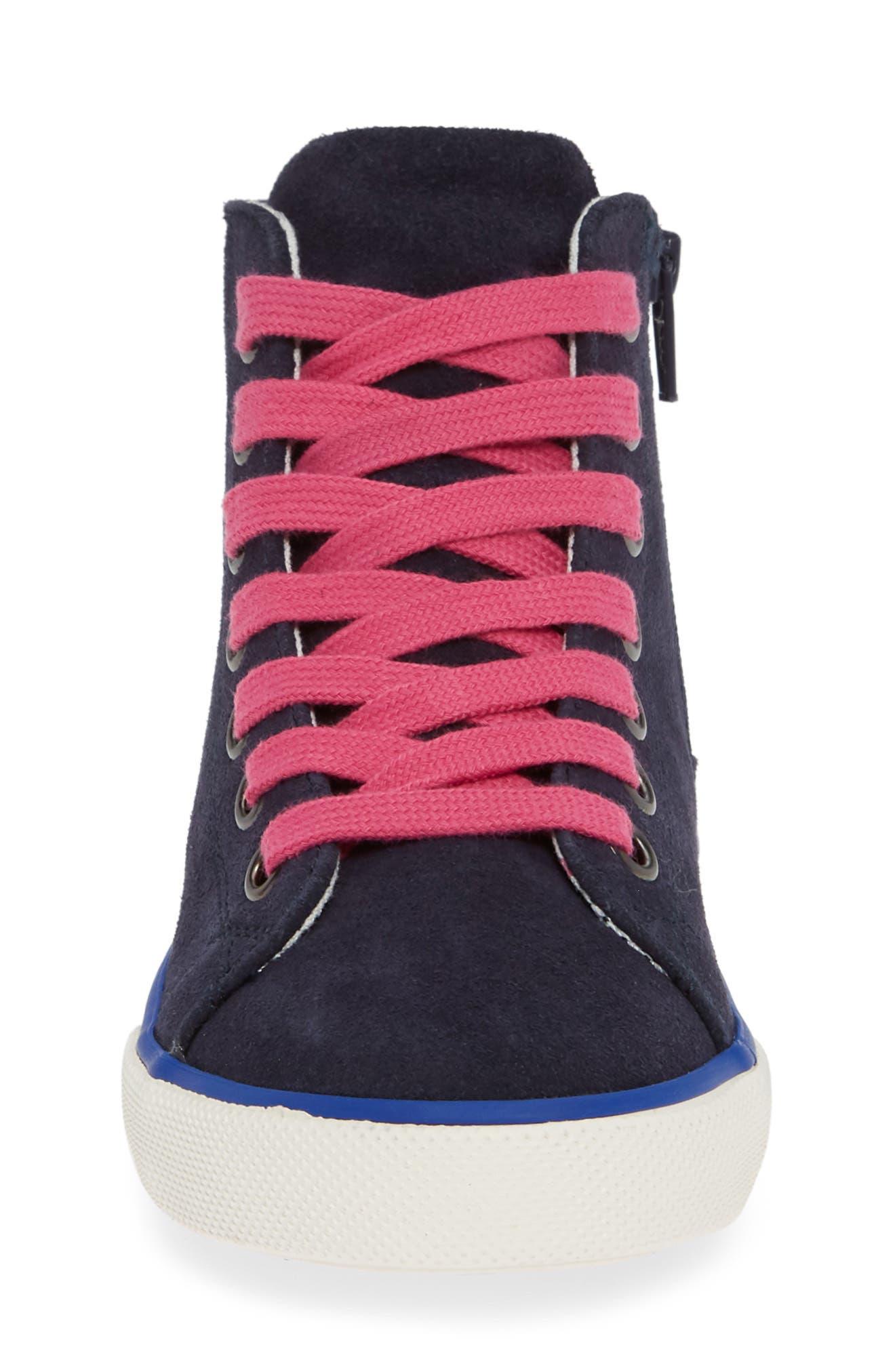 Mini Boden Appliqué High Top Sneaker,                             Alternate thumbnail 4, color,                             SCHOOL NAVY