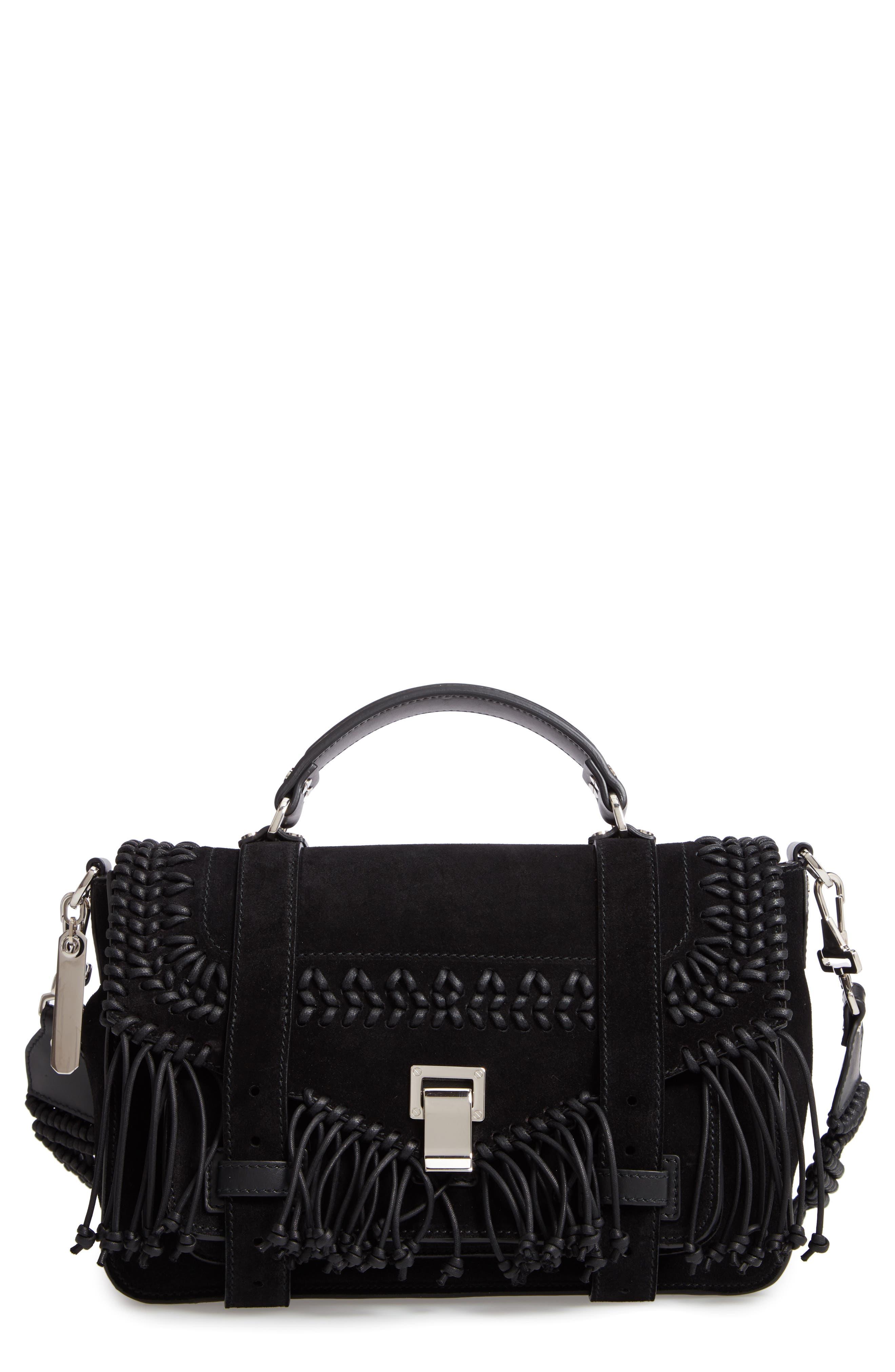 Ps1+ Medium Metallic Paper Leather Satchel Bag in Black