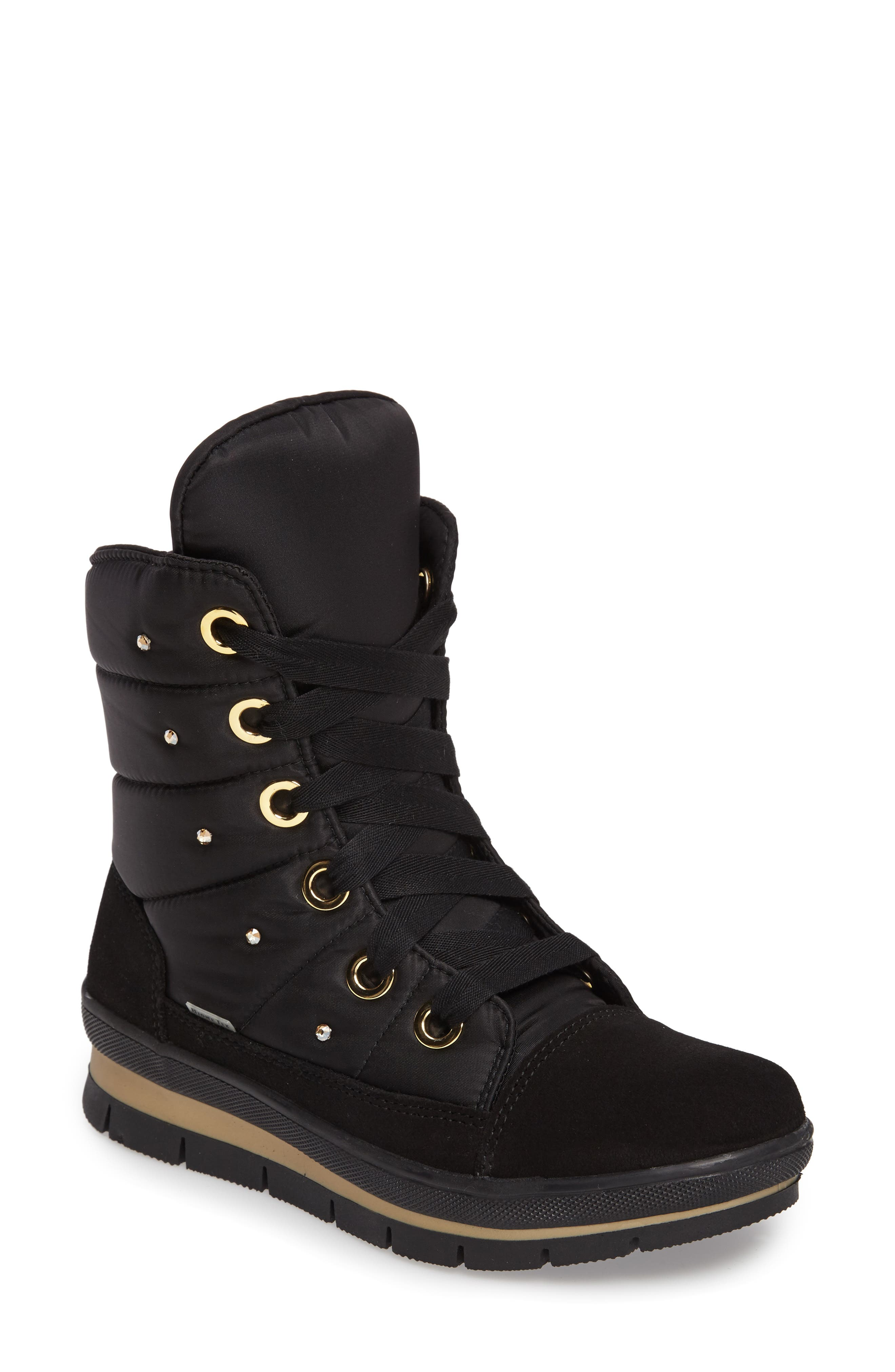 Verbier Waterproof Boot,                             Main thumbnail 1, color,                             BLACK / GOLD SWAROVSKI
