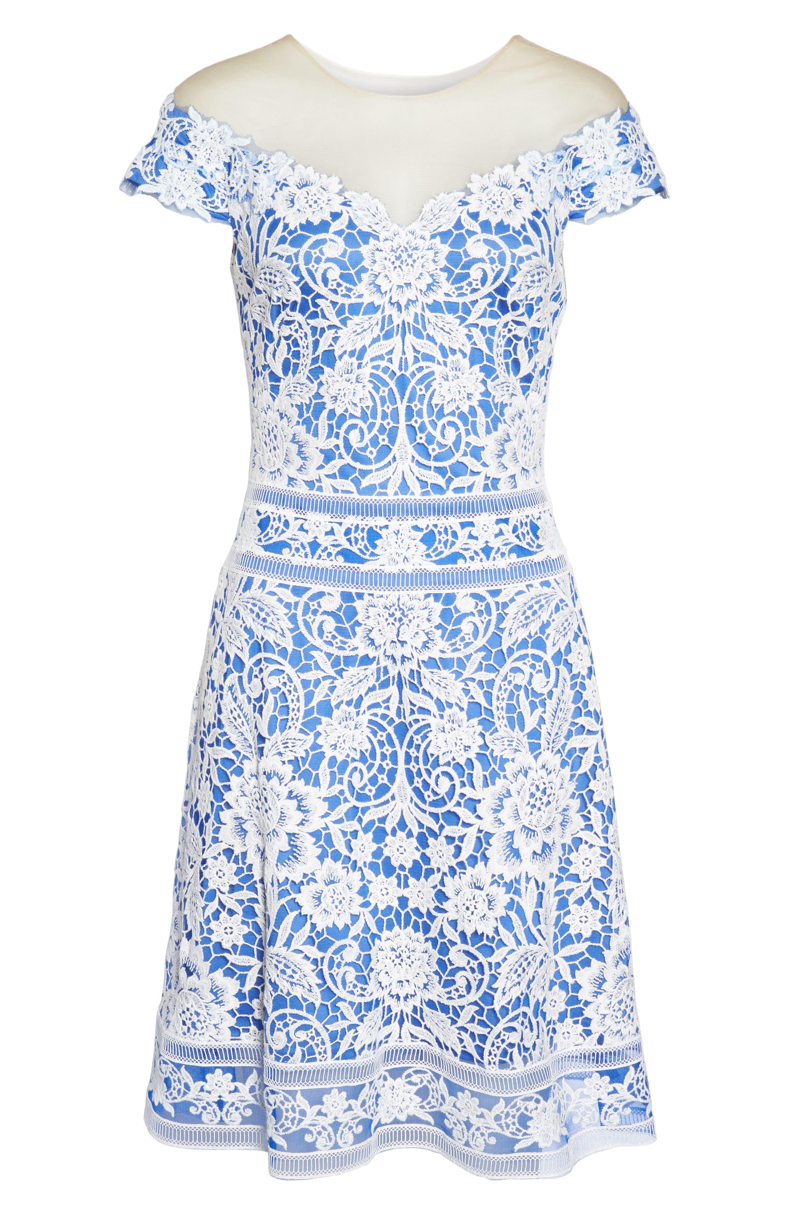 Illusion Neck Crochet Lace Dress,                             Alternate thumbnail 6, color,                             431